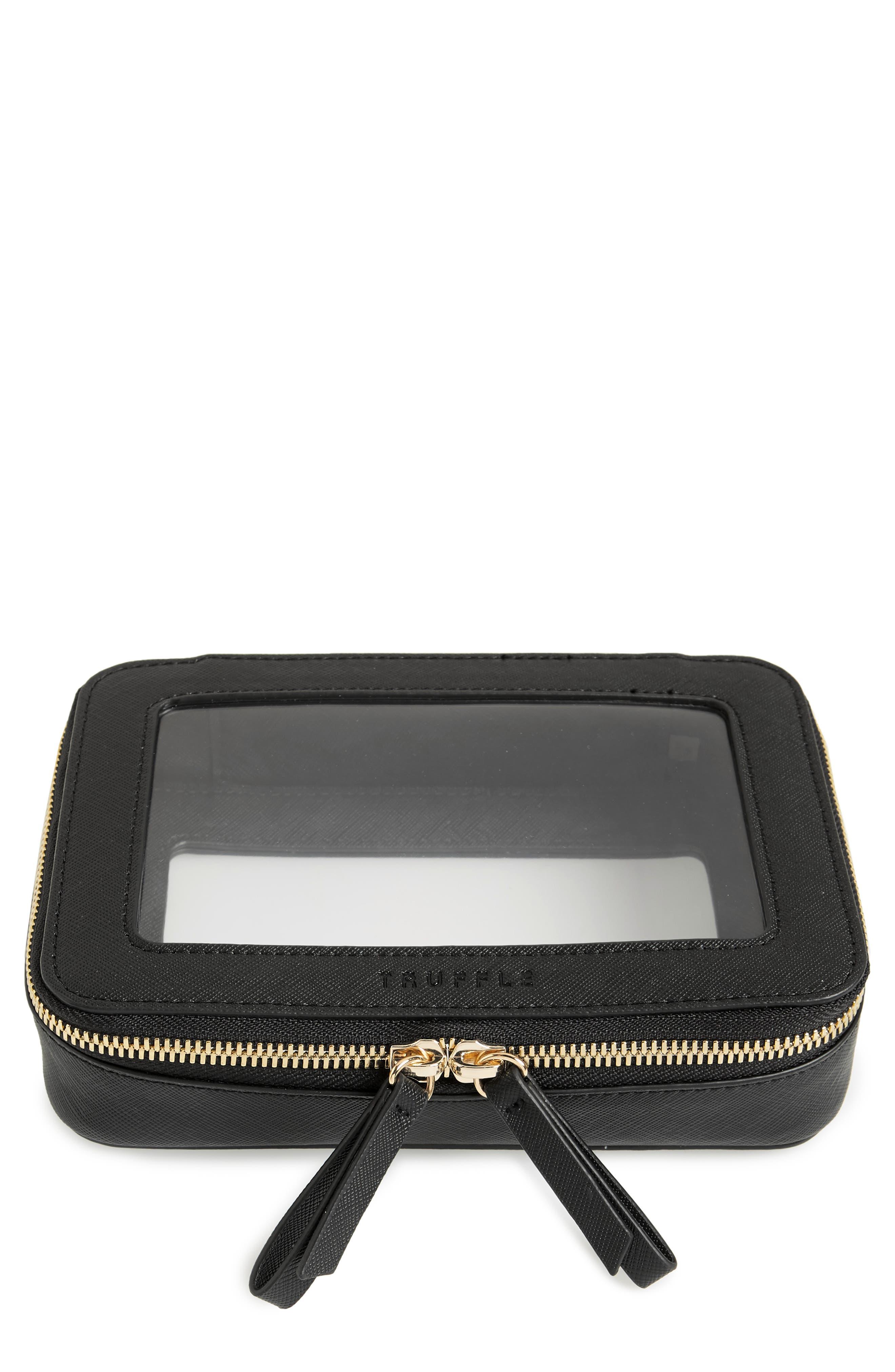TRUFFLE Clarity Jetset Cosmetics Case, Main, color, BLACK