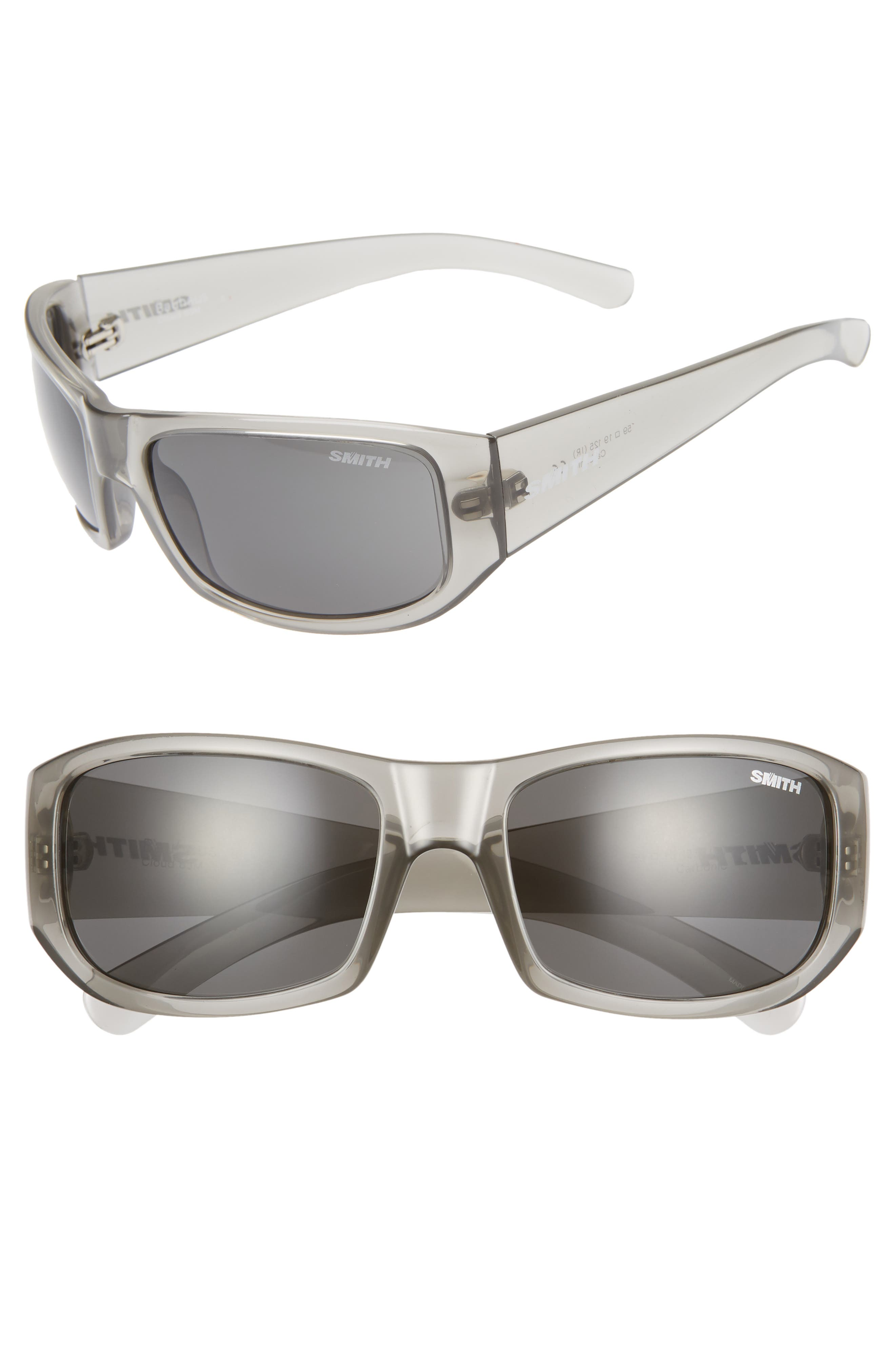 SMITH Bauhaus 59mm ChromaPop<sup>™</sup> Polarized Wraparound Sunglasses, Main, color, GREY CLOUD/ GREY