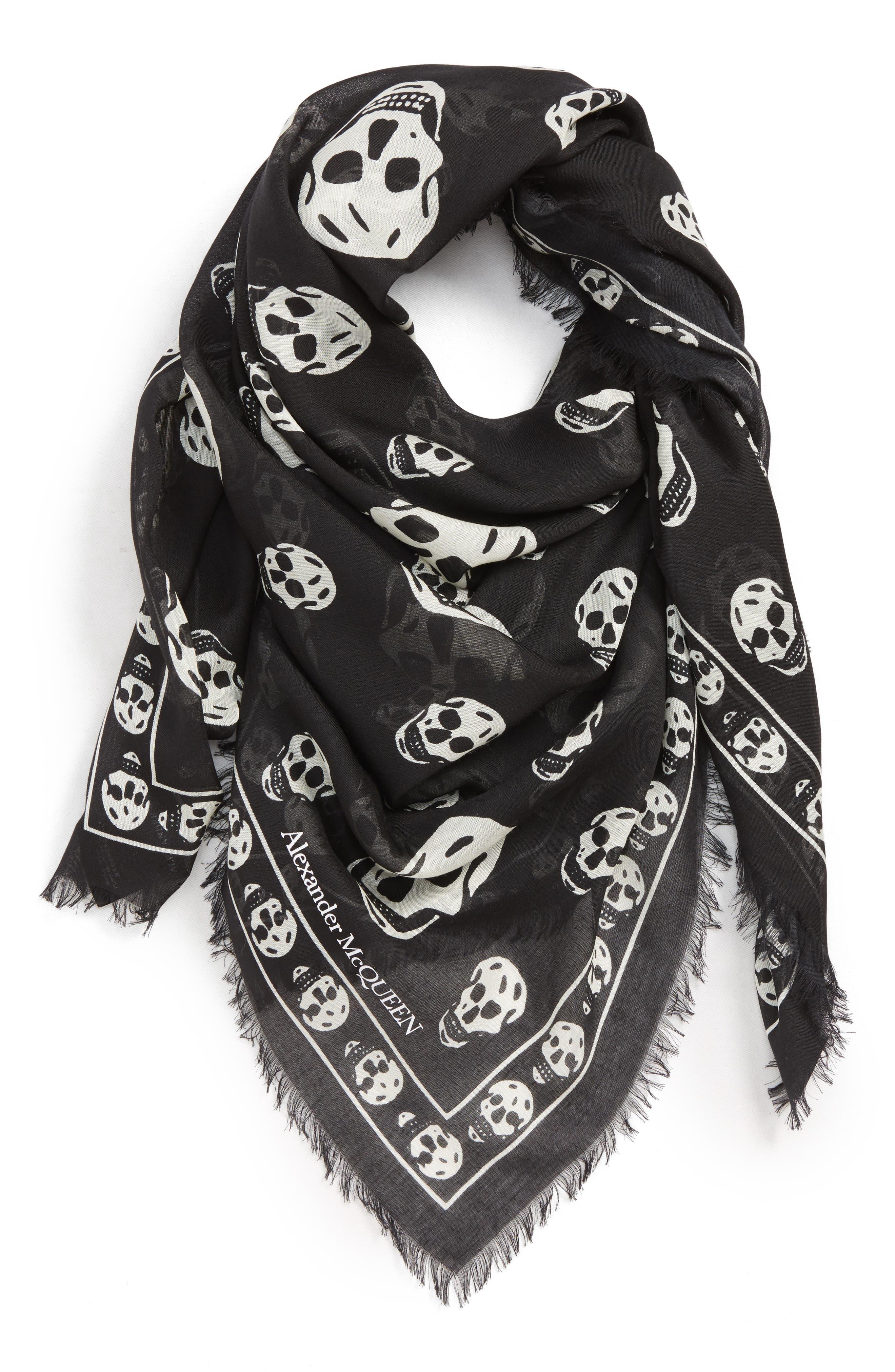 ALEXANDER MCQUEEN Skull Print Modal & Silk Scarf, Main, color, LEAD/IVORY