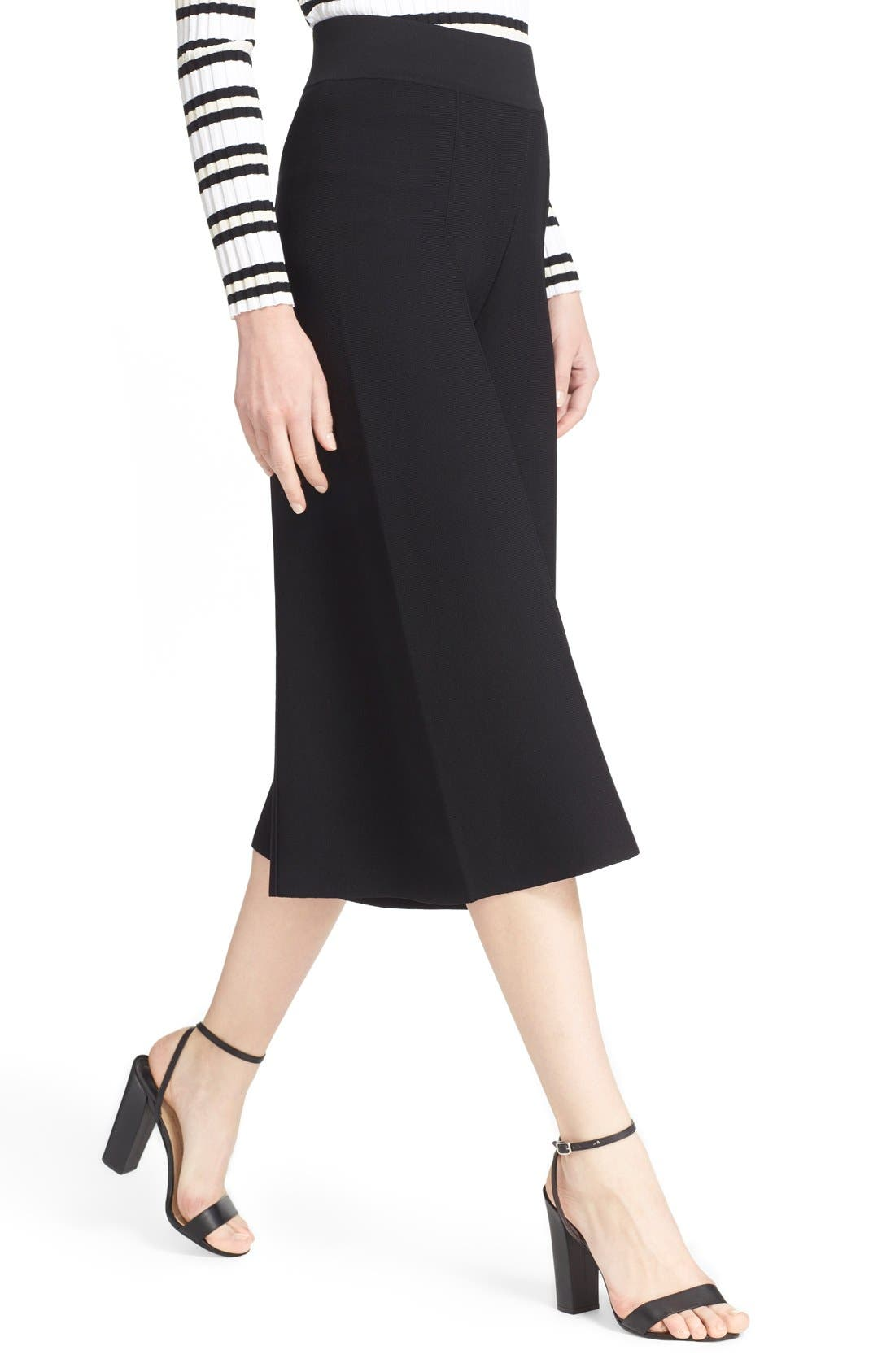 MILLY, Knit Culottes, Alternate thumbnail 2, color, 001