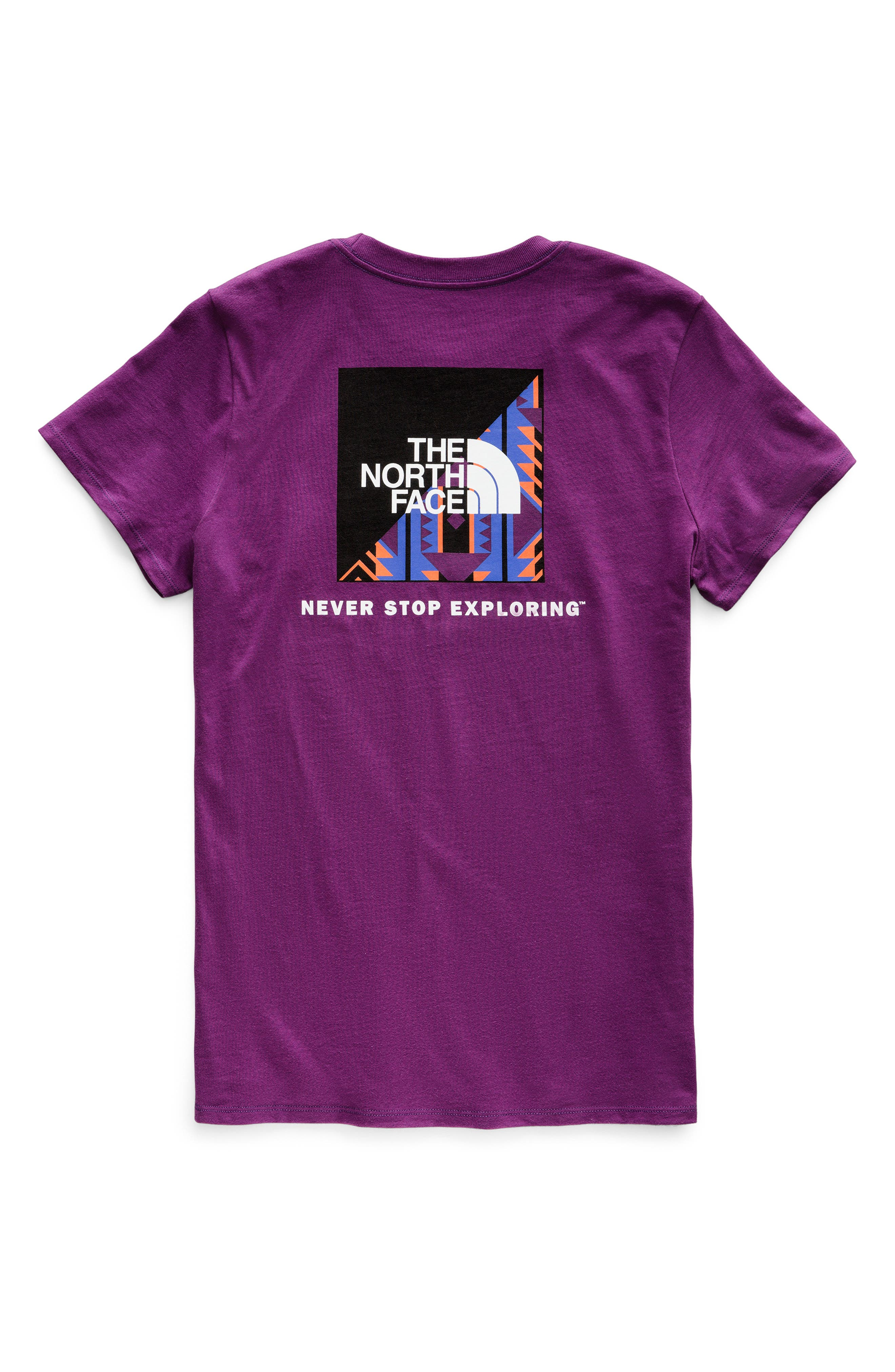 THE NORTH FACE, Red Box Tee, Alternate thumbnail 8, color, Phlox Purple/Aztec Blue