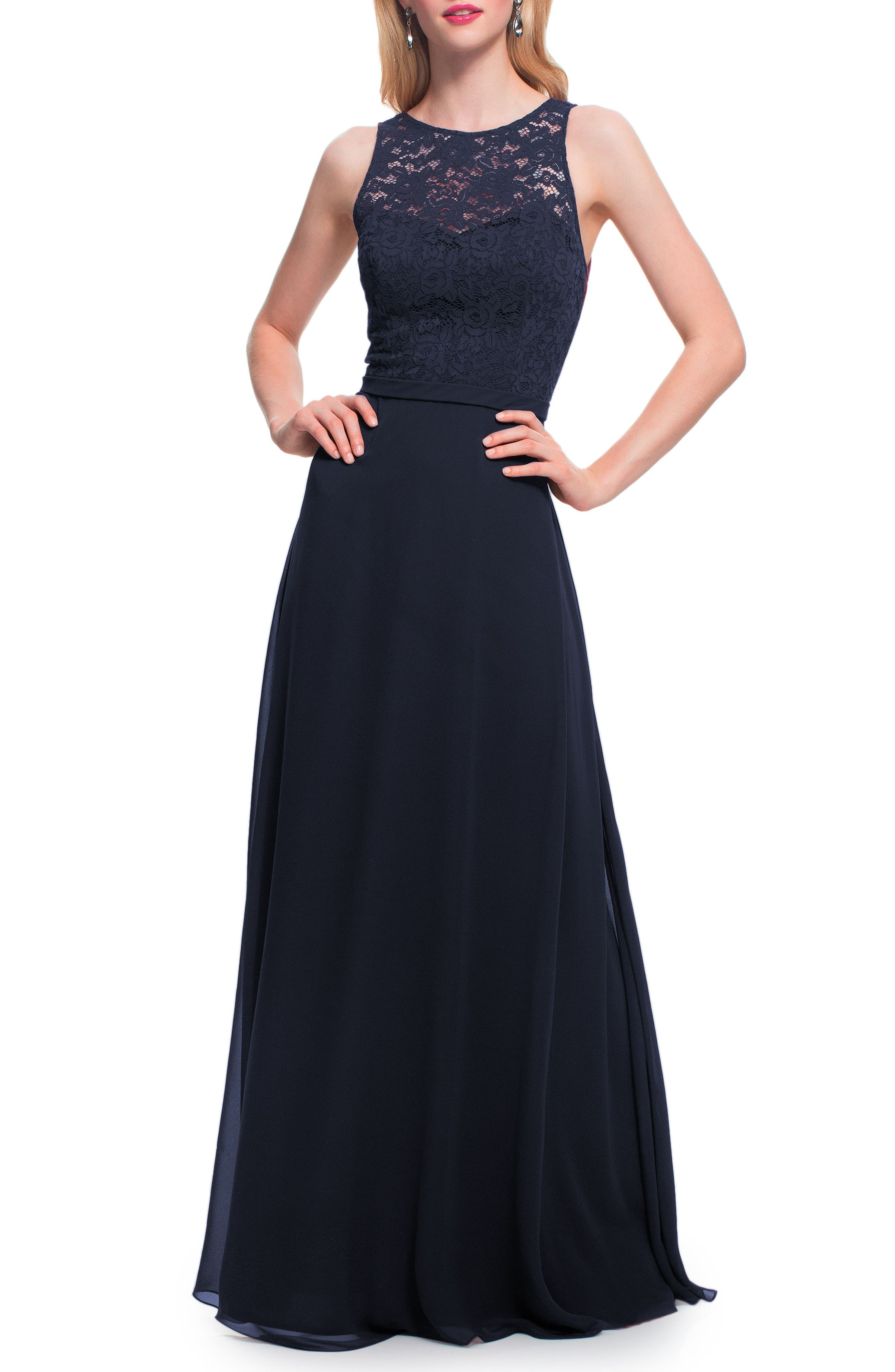 #LEVKOFF Lace Bodice Chiffon Gown, Main, color, NAVY