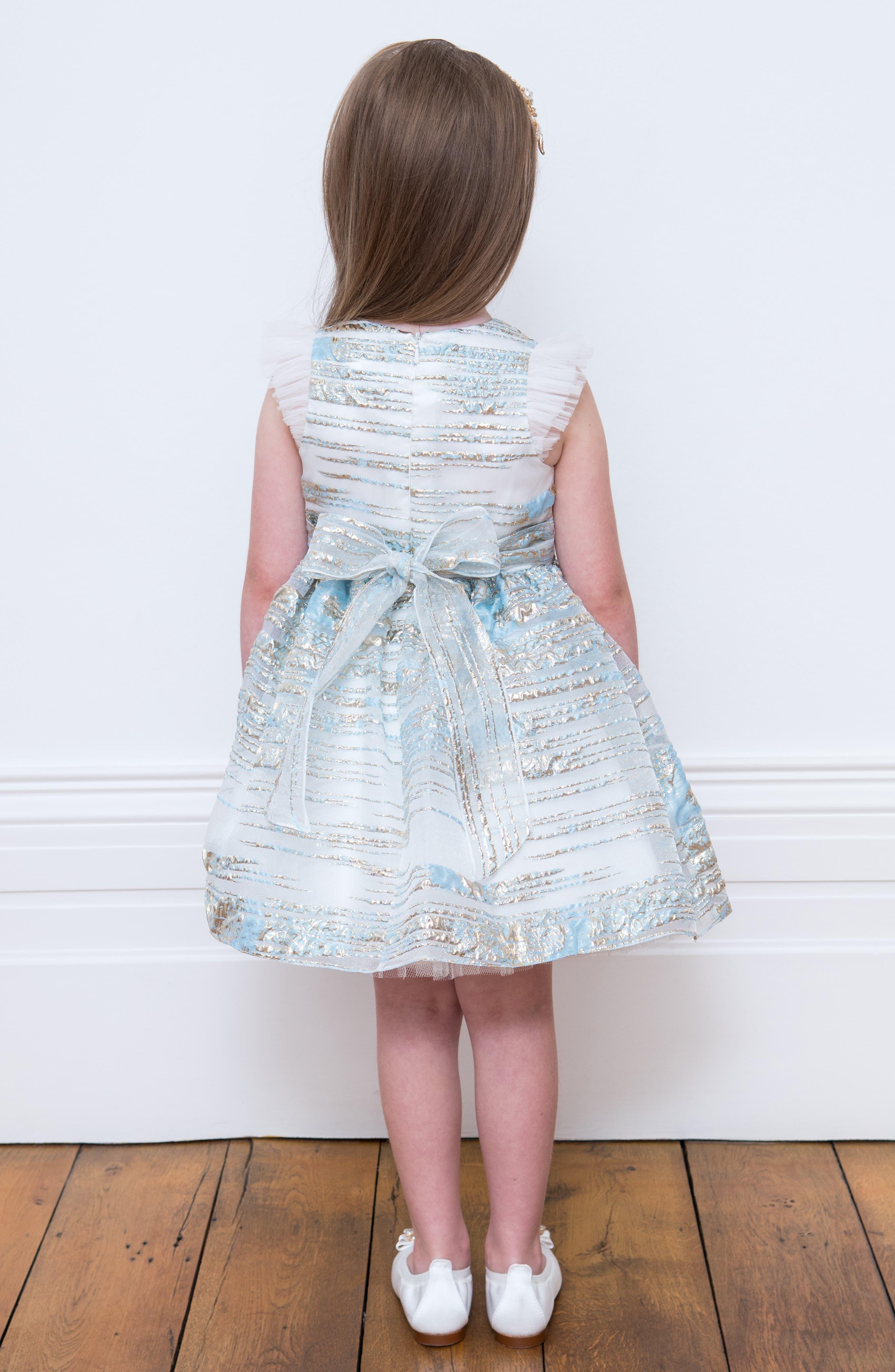 DAVID CHARLES, Metallic Stripe Organza Party Dress, Alternate thumbnail 4, color, BLUE