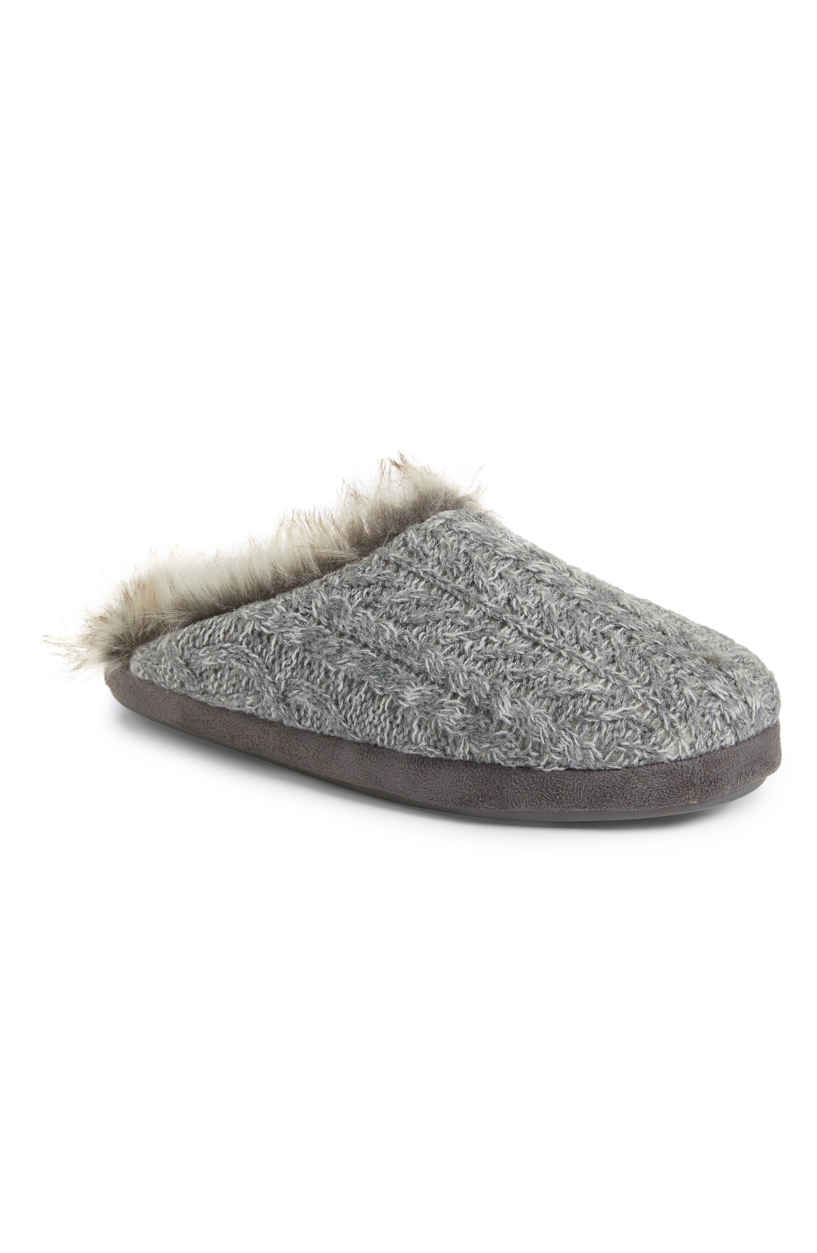 PJ SALVAGE, Faux Fur Trim Cable Knit Slipper, Main thumbnail 1, color, HEATHER GREY