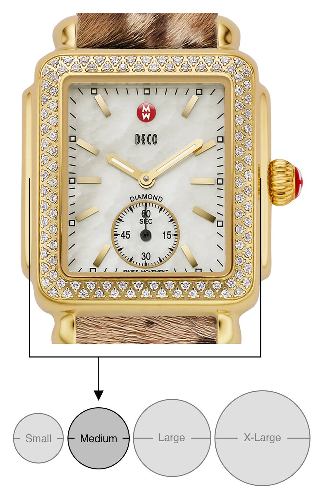 MICHELE, Deco 16 Diamond Gold Plated Watch Head, 29mm x 31mm, Alternate thumbnail 7, color, GOLD