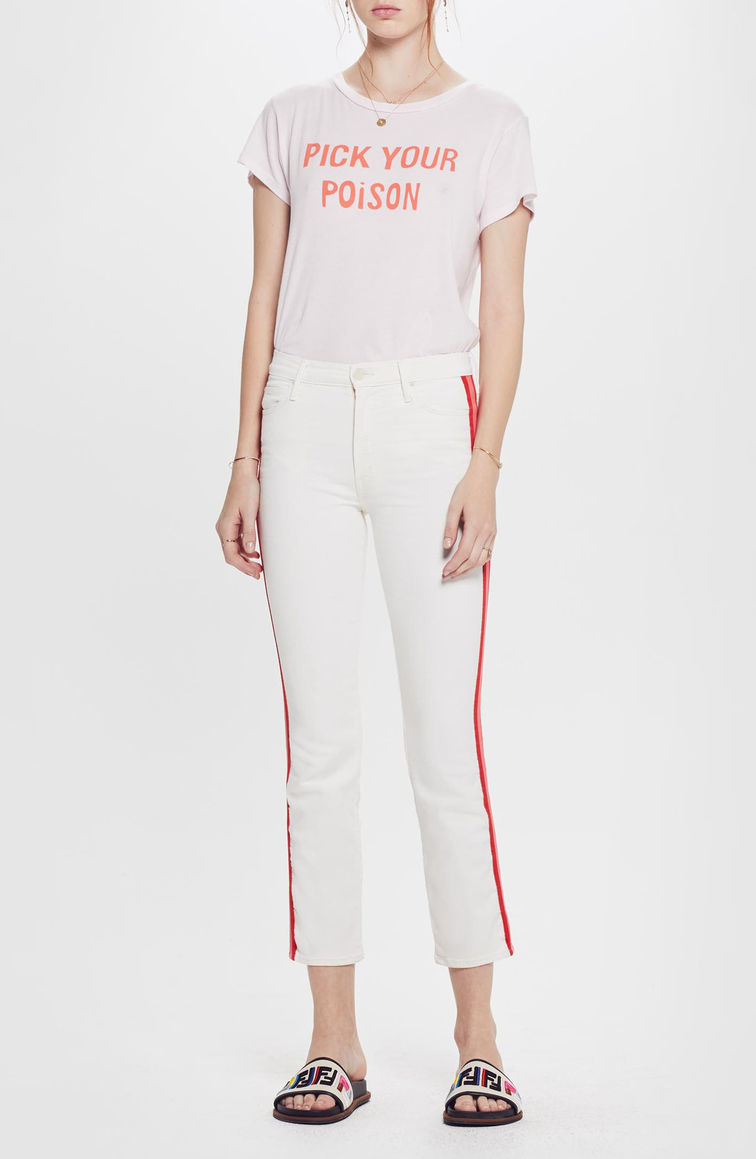 MOTHER, The Dazzler Mid Rise Crop Slim Jeans, Alternate thumbnail 6, color, WHIPPING THE CREAM PINK RACER