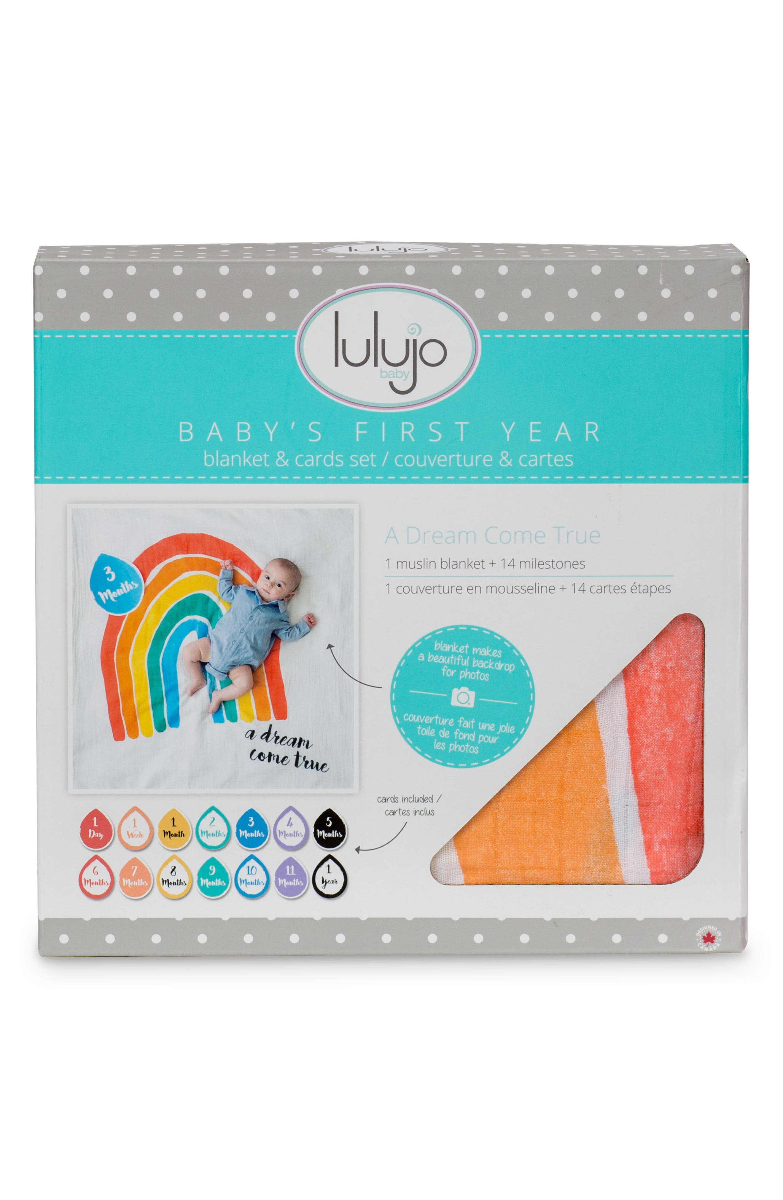 LULUJO, Baby's First Year - A Dream Come True Muslin Blanket & Milestone Card Set, Alternate thumbnail 3, color, 810
