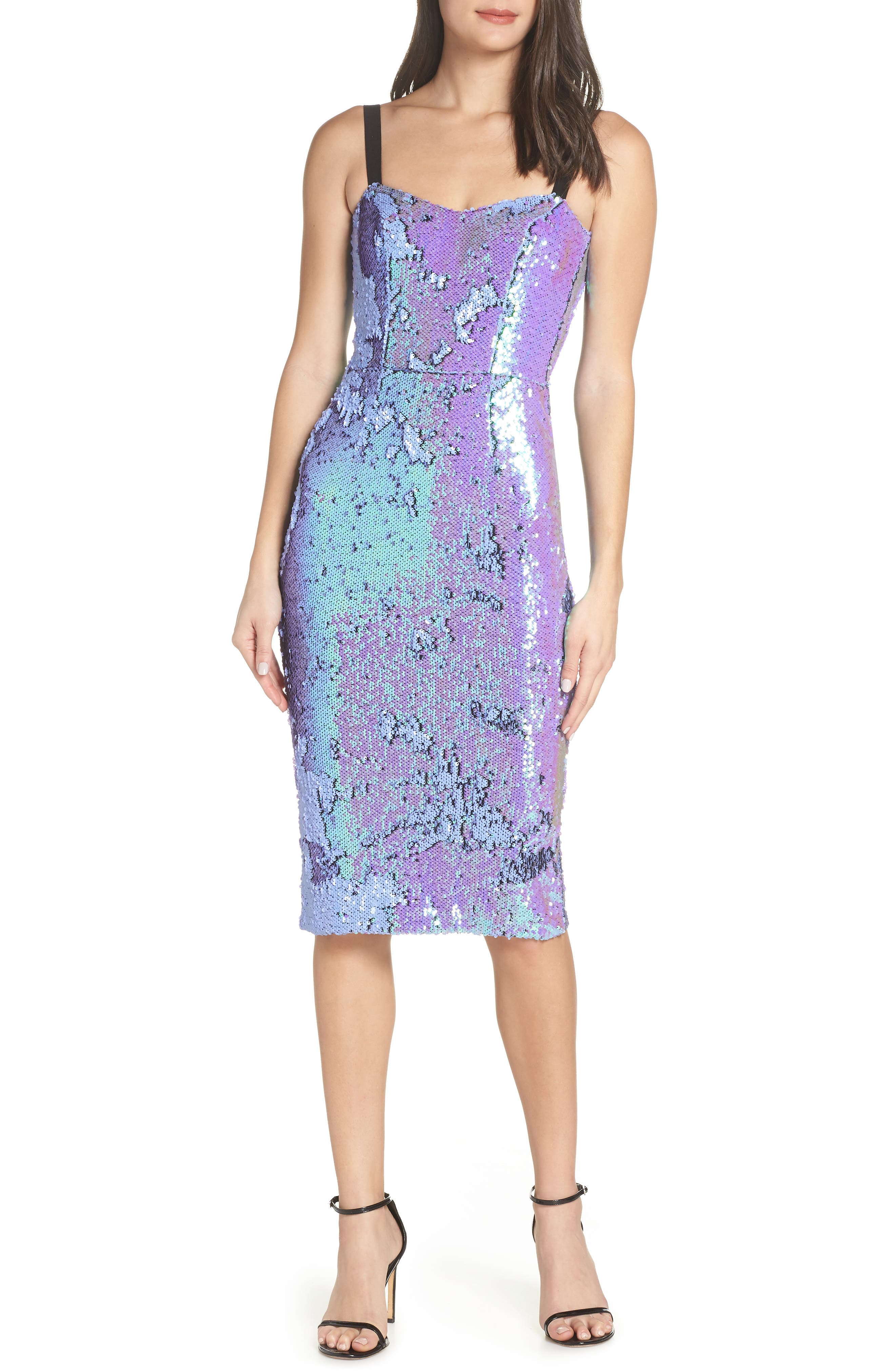 DRESS THE POPULATION, Lynda Iridescent Sequin Sheath Dress, Main thumbnail 1, color, ULTRA VIOLET