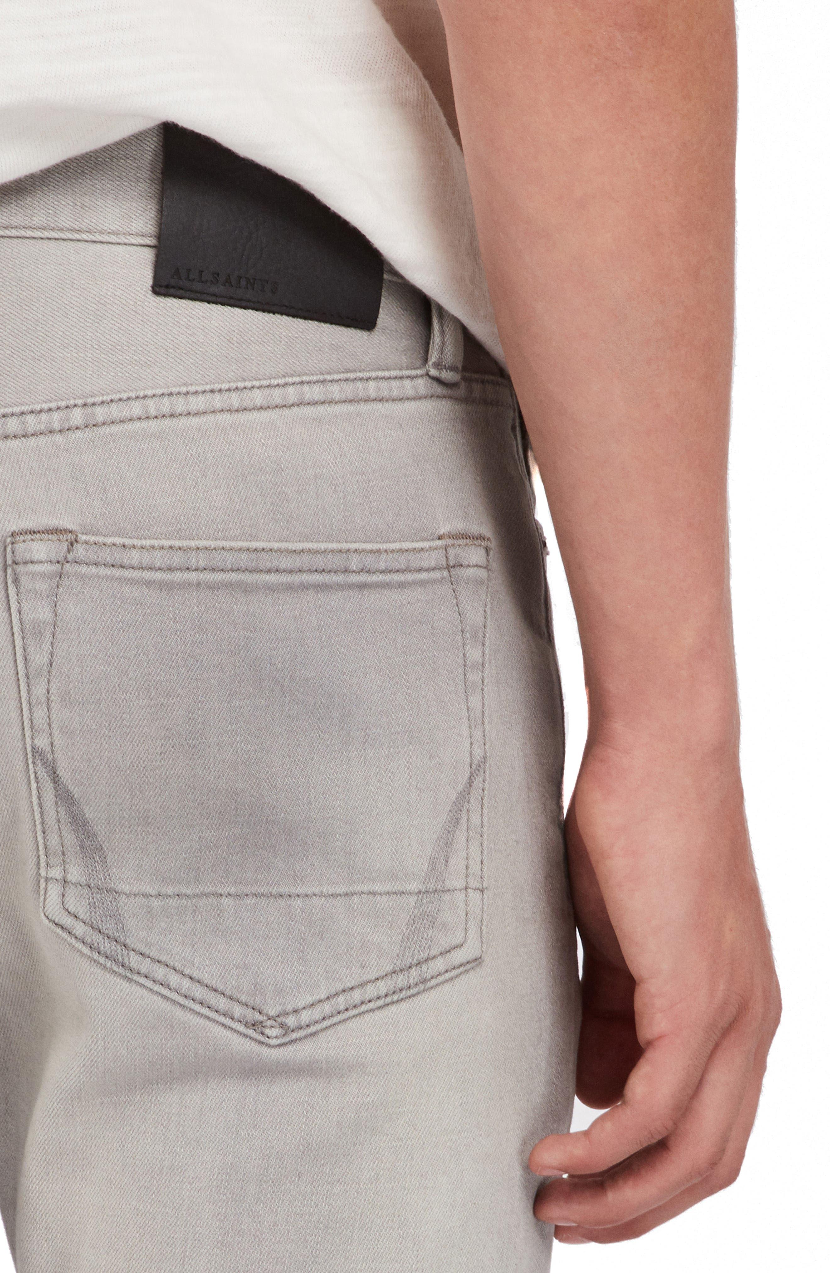 ALLSAINTS, Raveline Cigarette Skinny Fit Jeans, Alternate thumbnail 5, color, GREY
