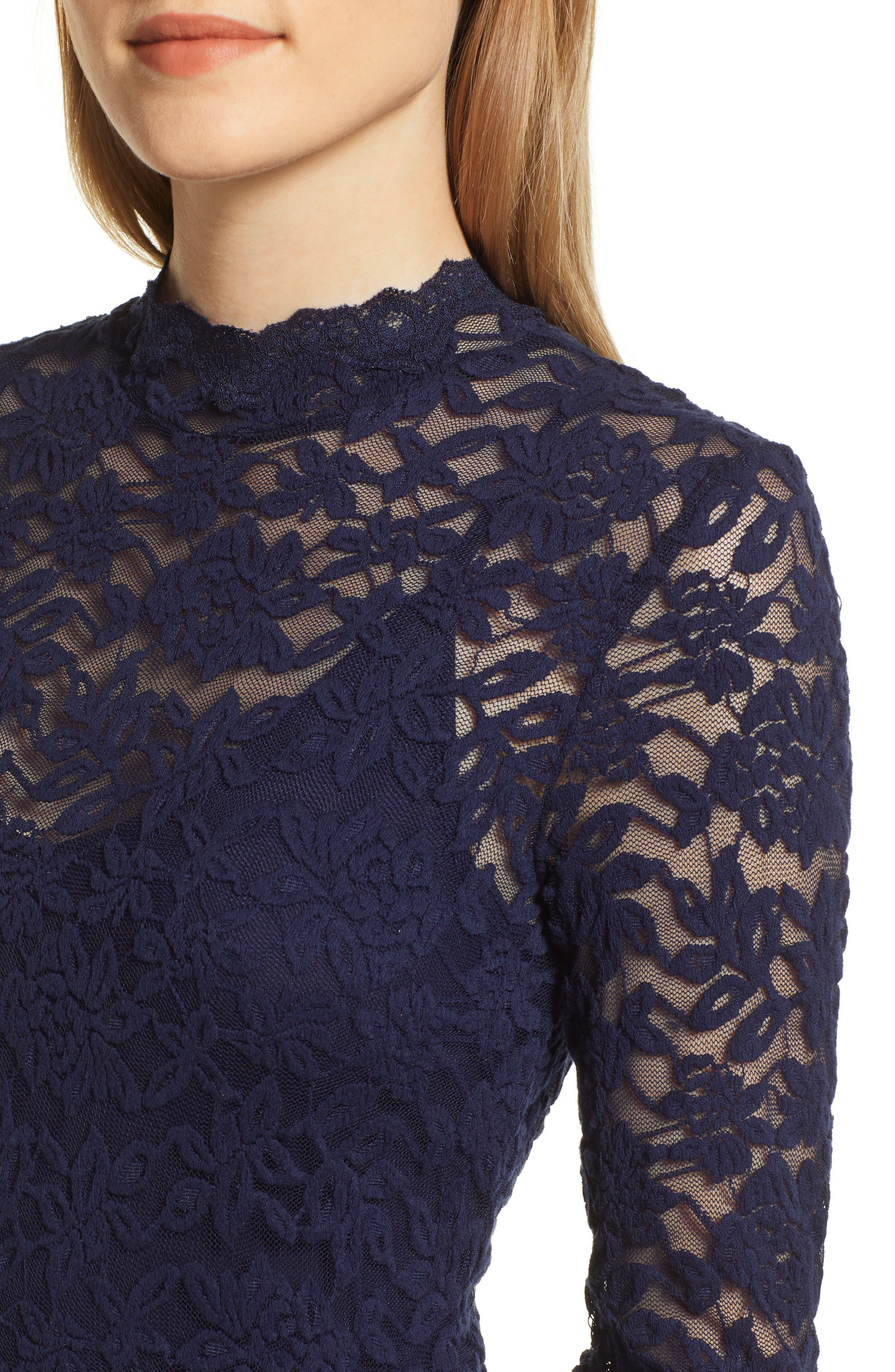 ROSEMUNDE, Delicia Lace Body-Con Dress, Alternate thumbnail 5, color, MARITIME BLUE