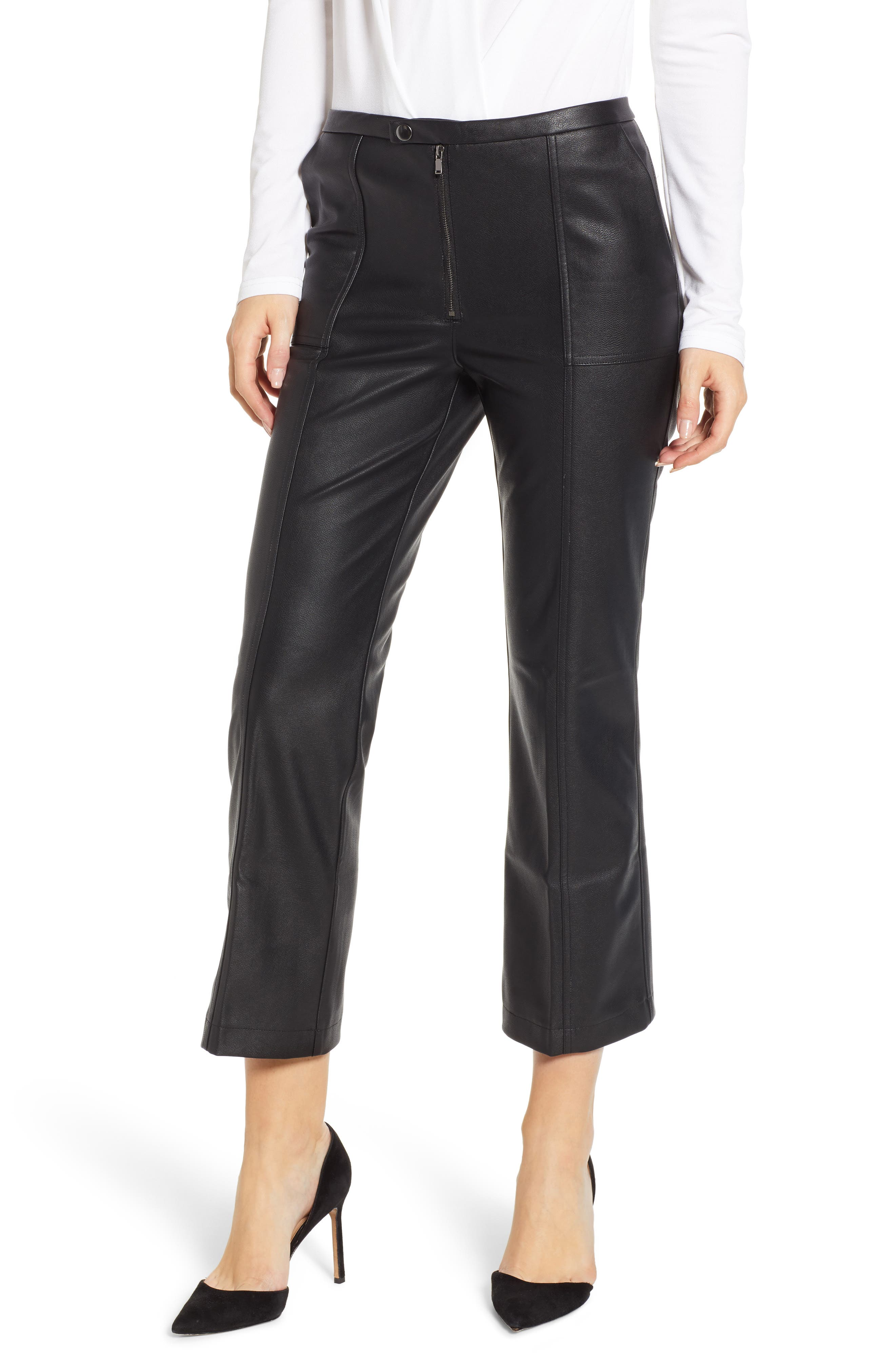 DAVID LERNER, Pintuck Flare Faux Leather Trousers, Main thumbnail 1, color, 001