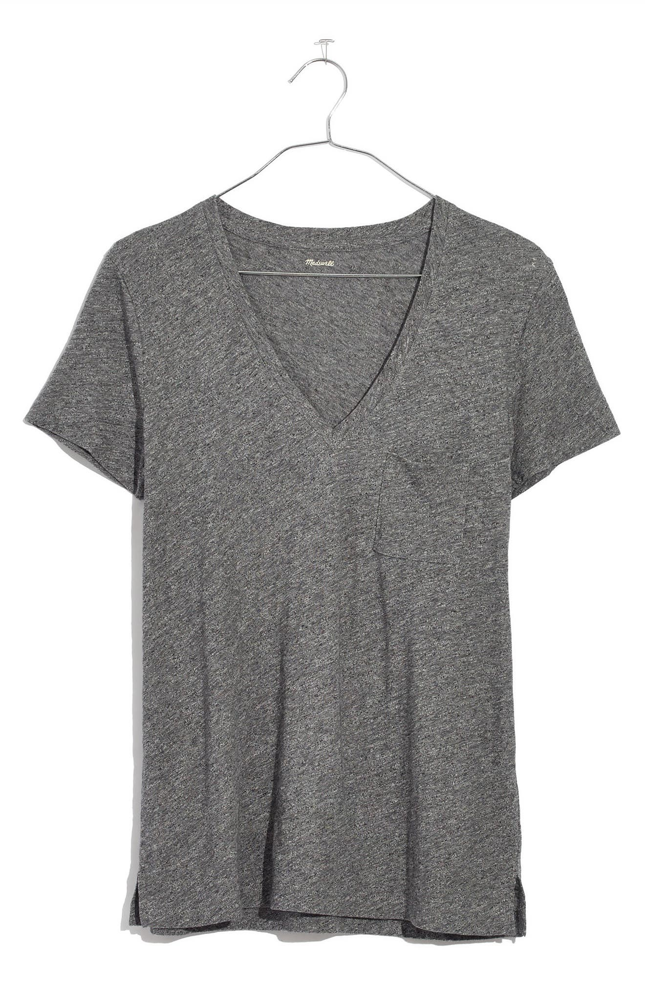 MADEWELL, Whisper Cotton V-Neck Pocket Tee, Alternate thumbnail 6, color, HEATHER MERCURY