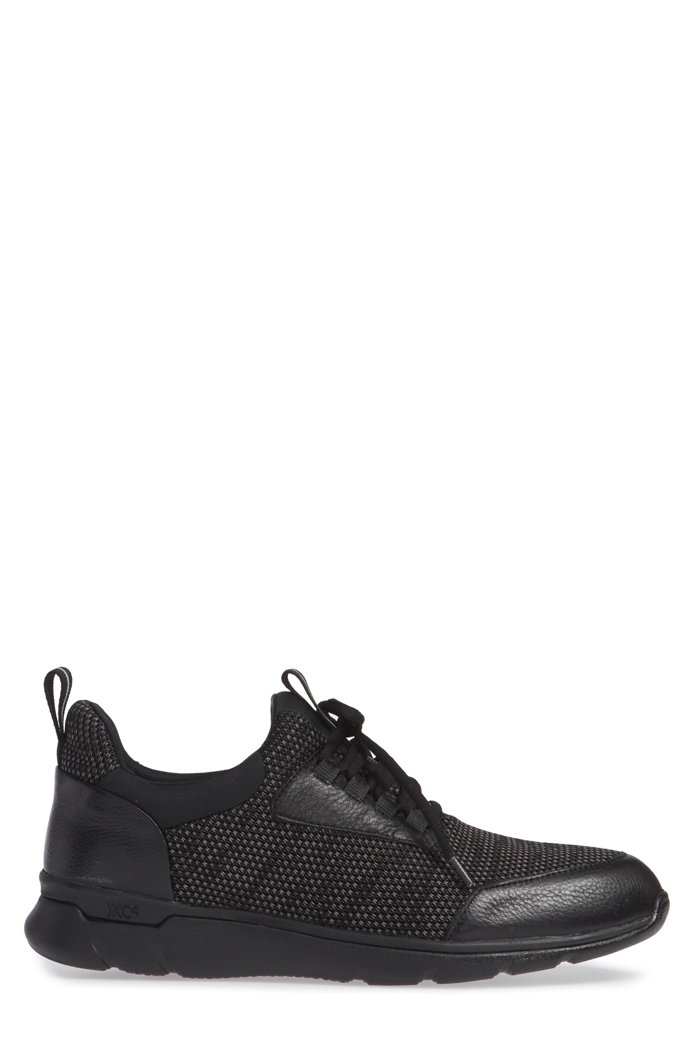 JOHNSTON & MURPHY, Prentiss XC4<sup>®</sup> Waterproof Sneaker, Alternate thumbnail 3, color, BLACK LEATHER