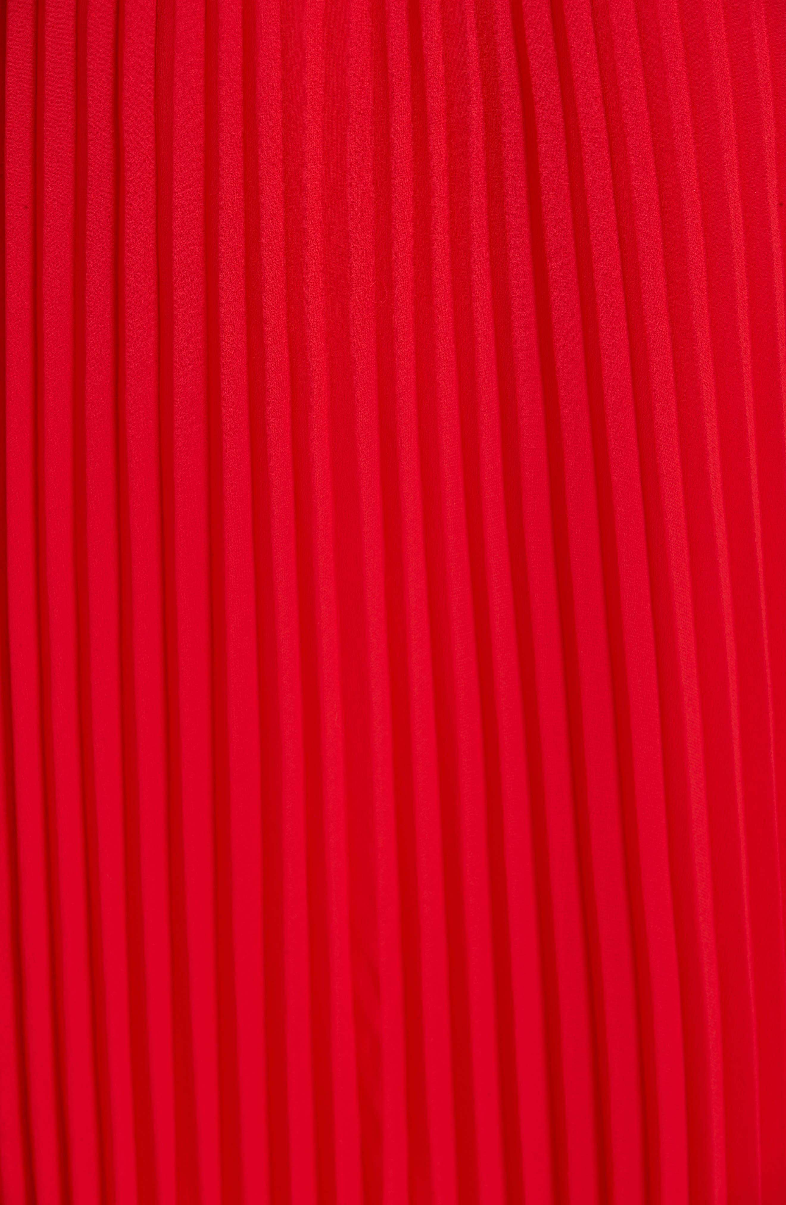 POLO RALPH LAUREN, Pleat Midi Skirt, Alternate thumbnail 5, color, PANDORA RED