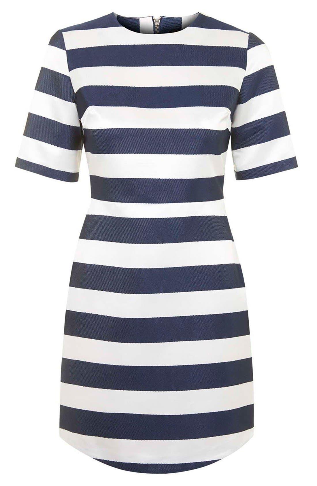 TOPSHOP, Twill & Satin Stripe Dress, Alternate thumbnail 3, color, 410
