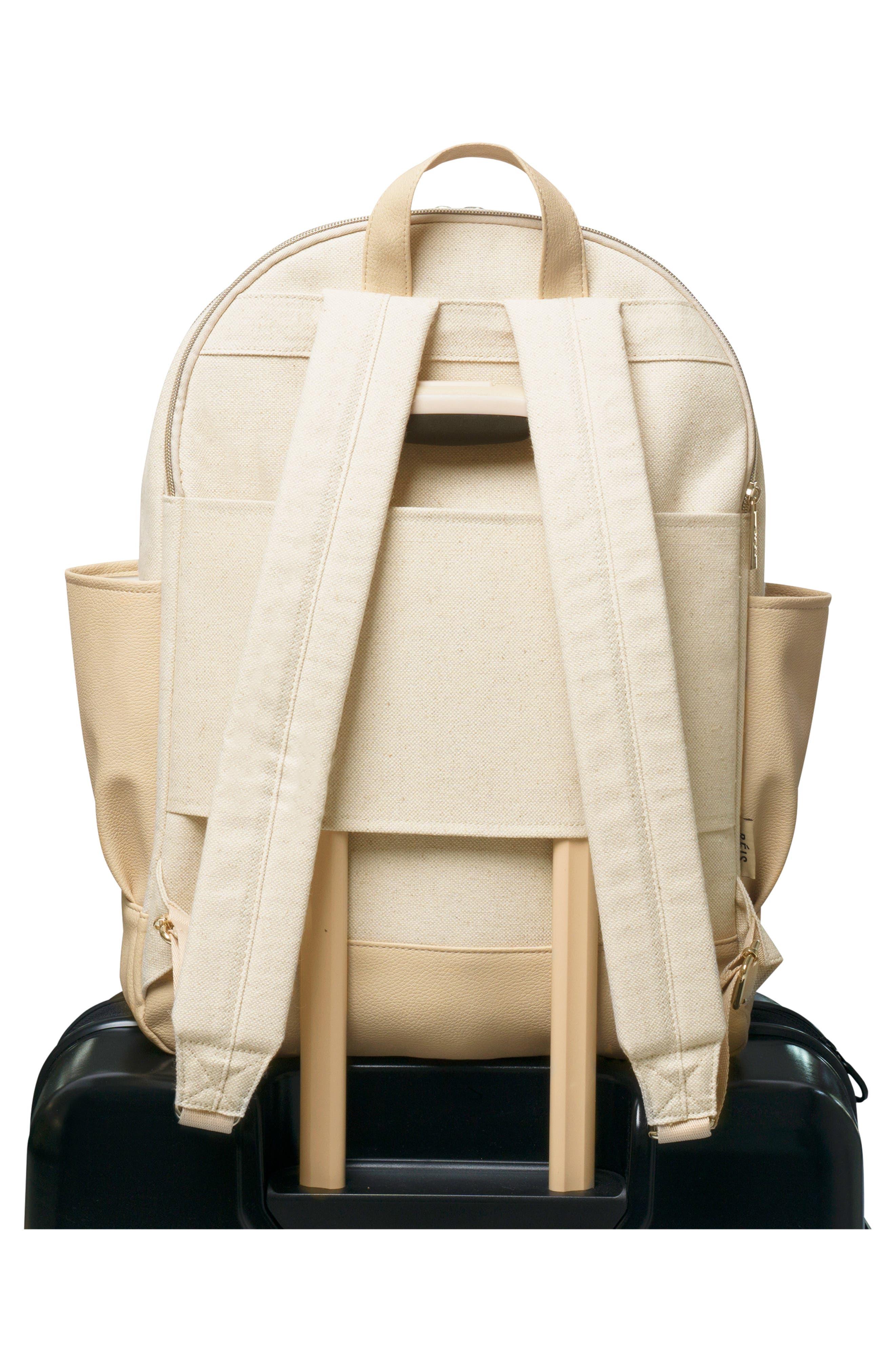 BÉIS, Travel Multi Function Travel Backpack, Alternate thumbnail 8, color, BEIGE