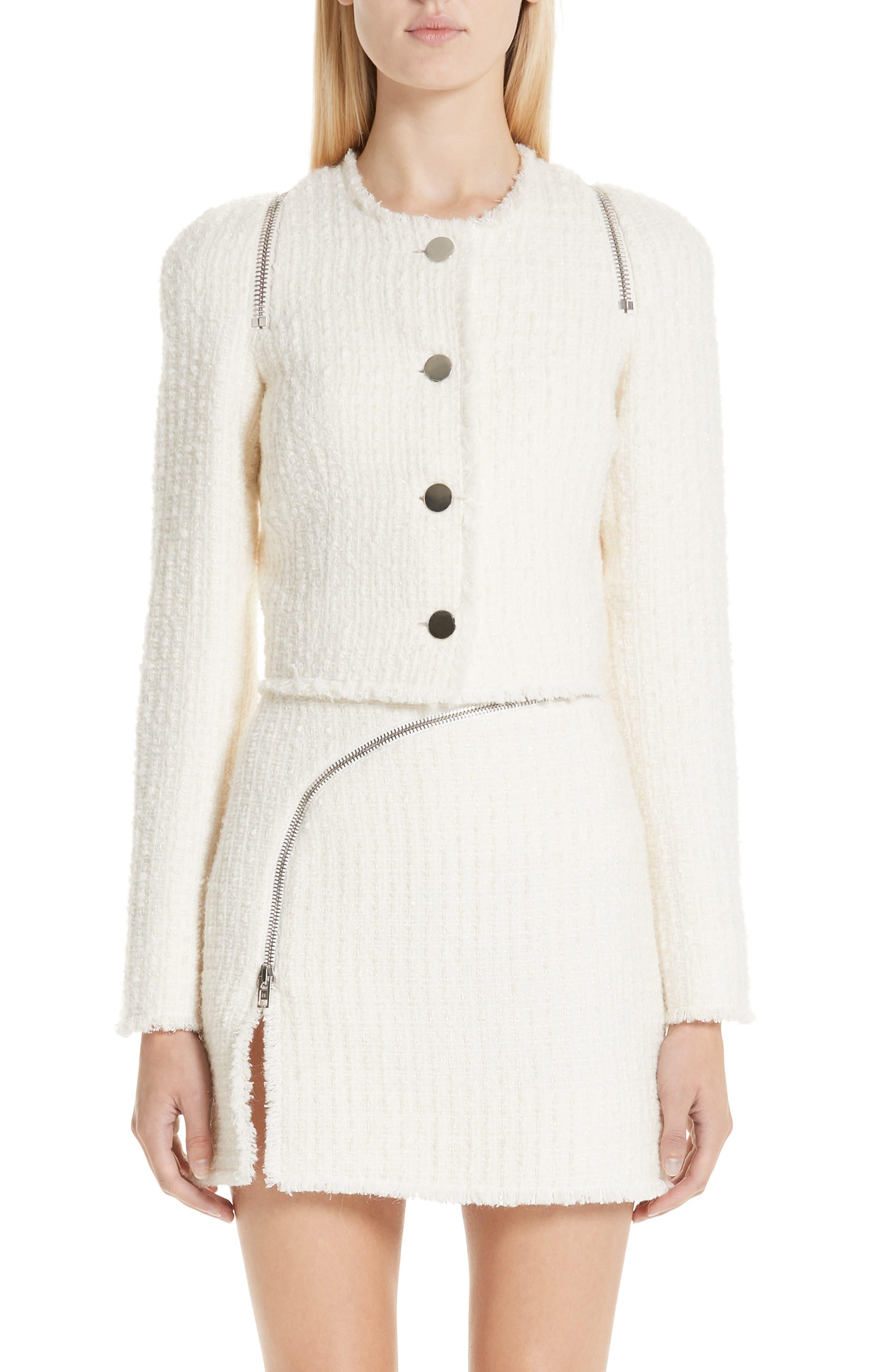 ALEXANDER WANG Zip Detail Tweed Jacket, Main, color, IVORY