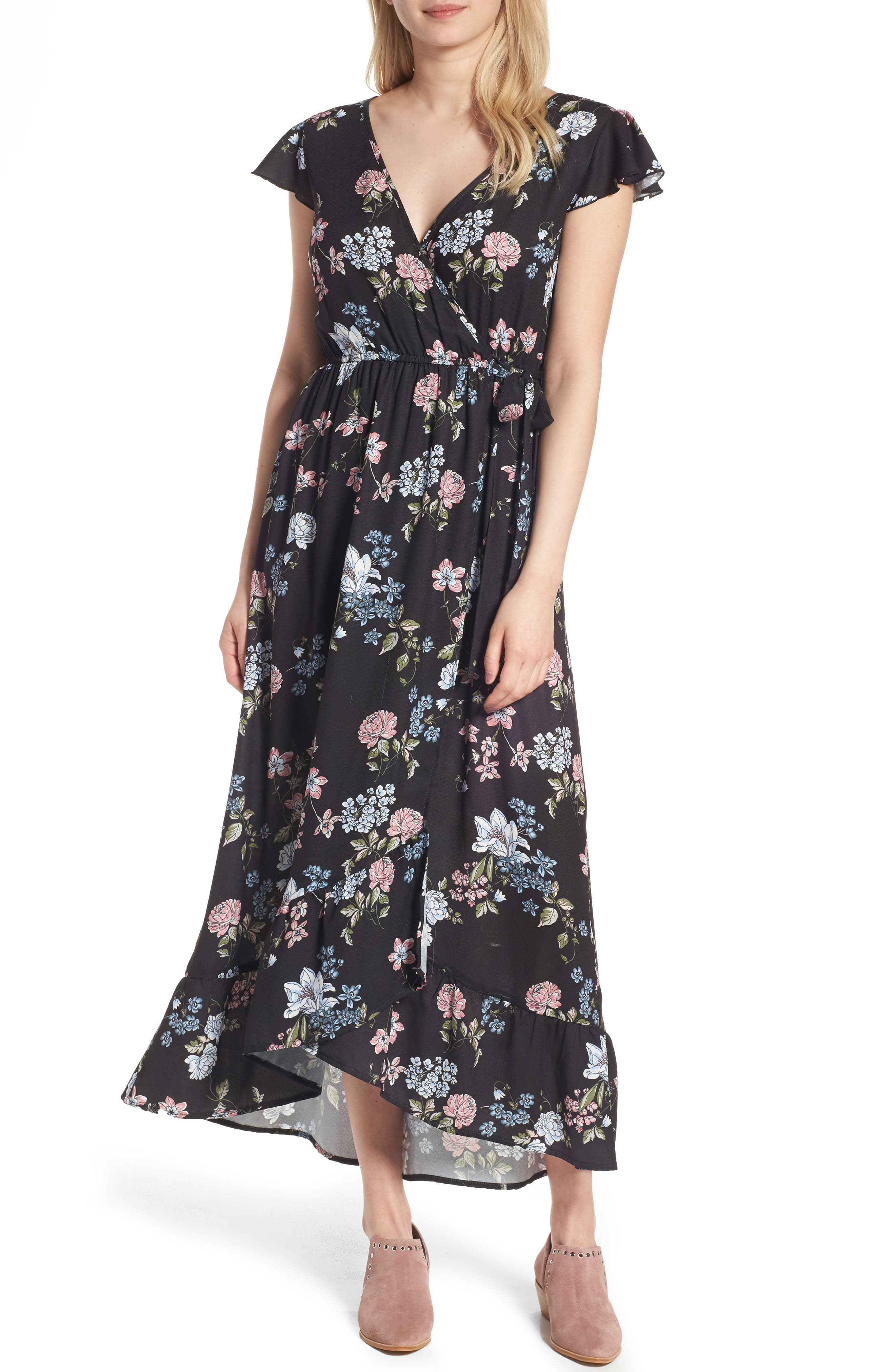 BAND OF GYPSIES Faux Wrap Maxi Dress, Main, color, 004