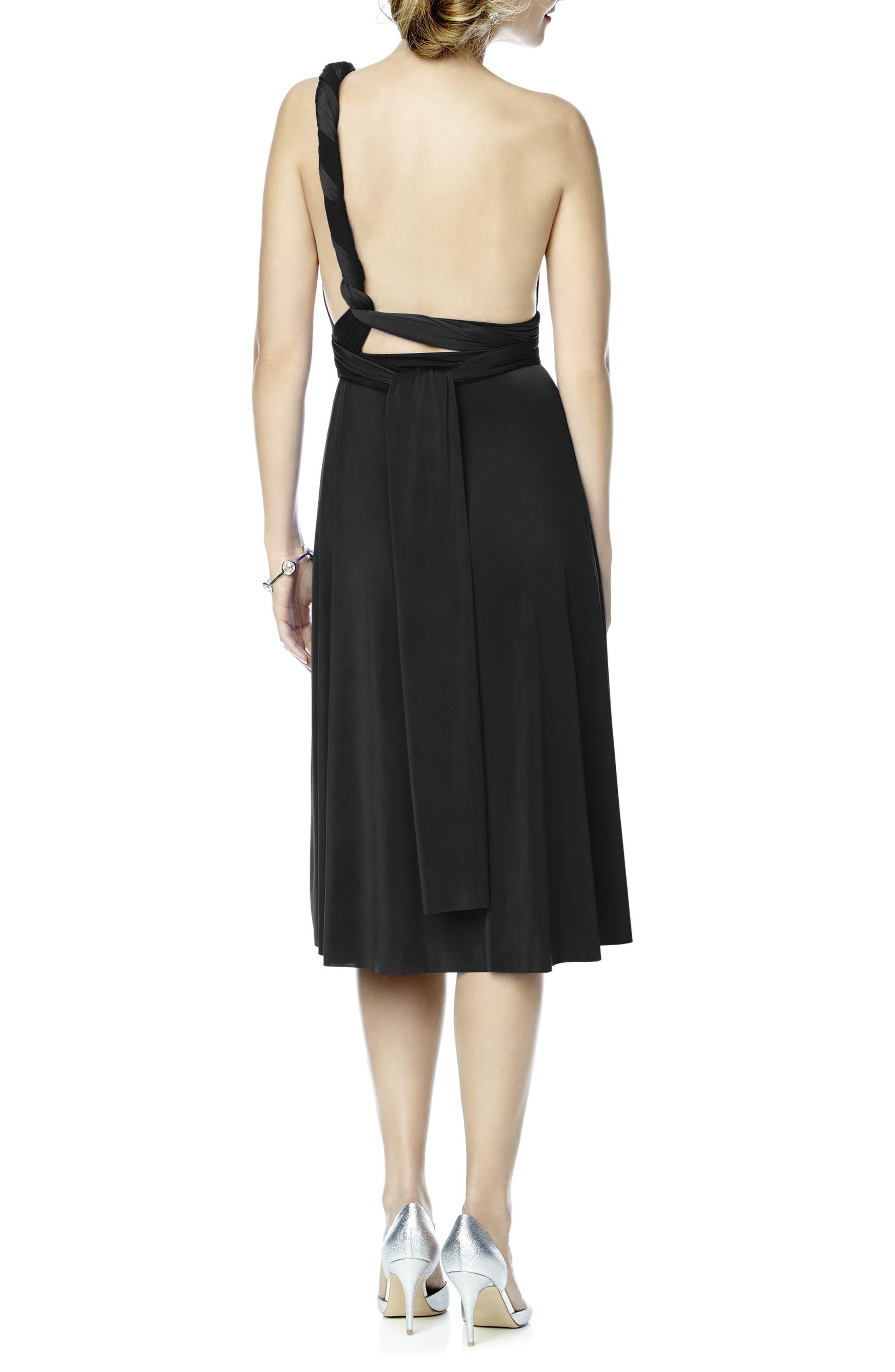 DESSY COLLECTION, Convertible Wrap Tie Surplice Jersey Dress, Alternate thumbnail 3, color, 001