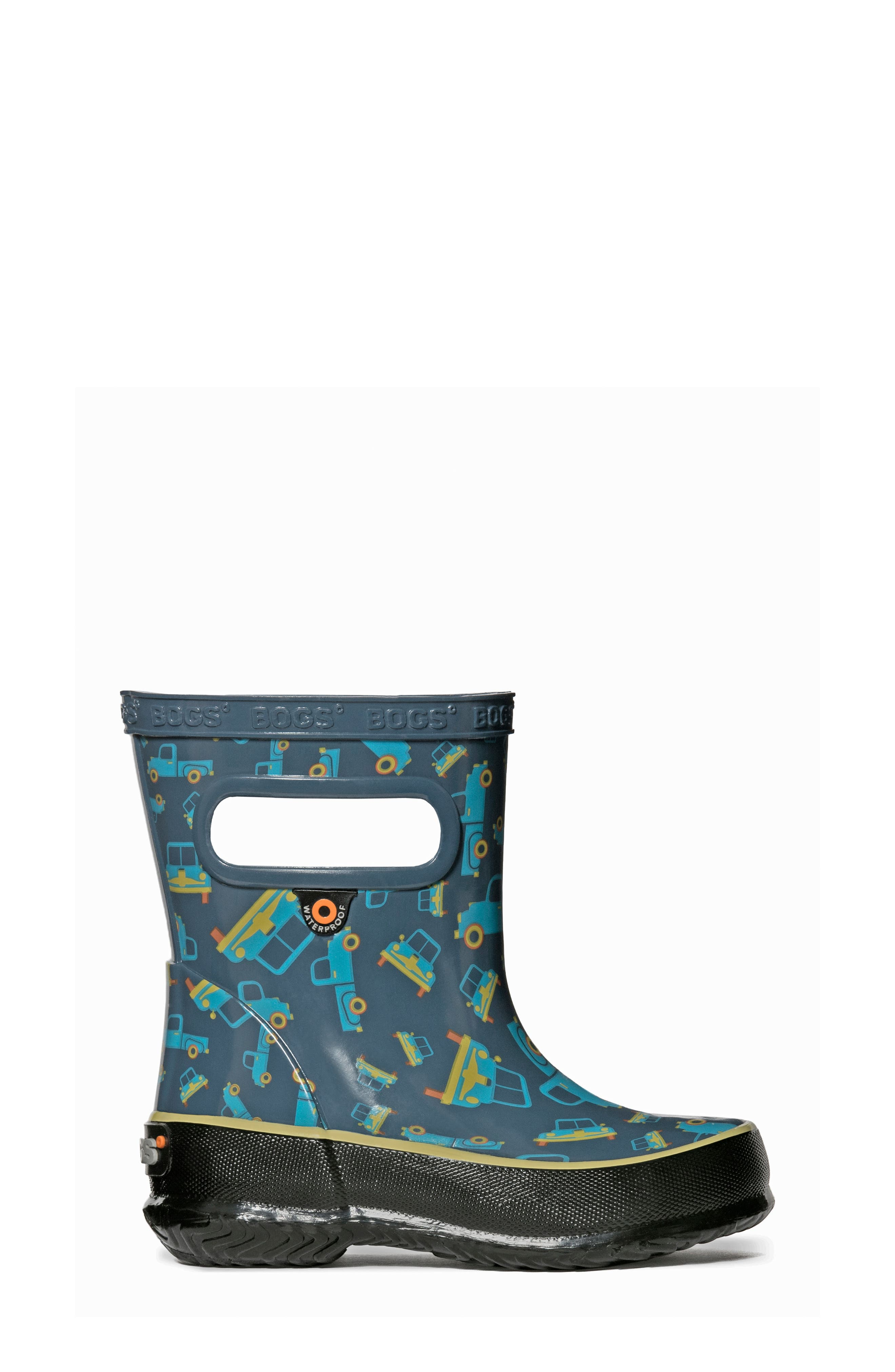 BOGS, Skipper Truck Print Rubber Rain Boot, Alternate thumbnail 8, color, 460