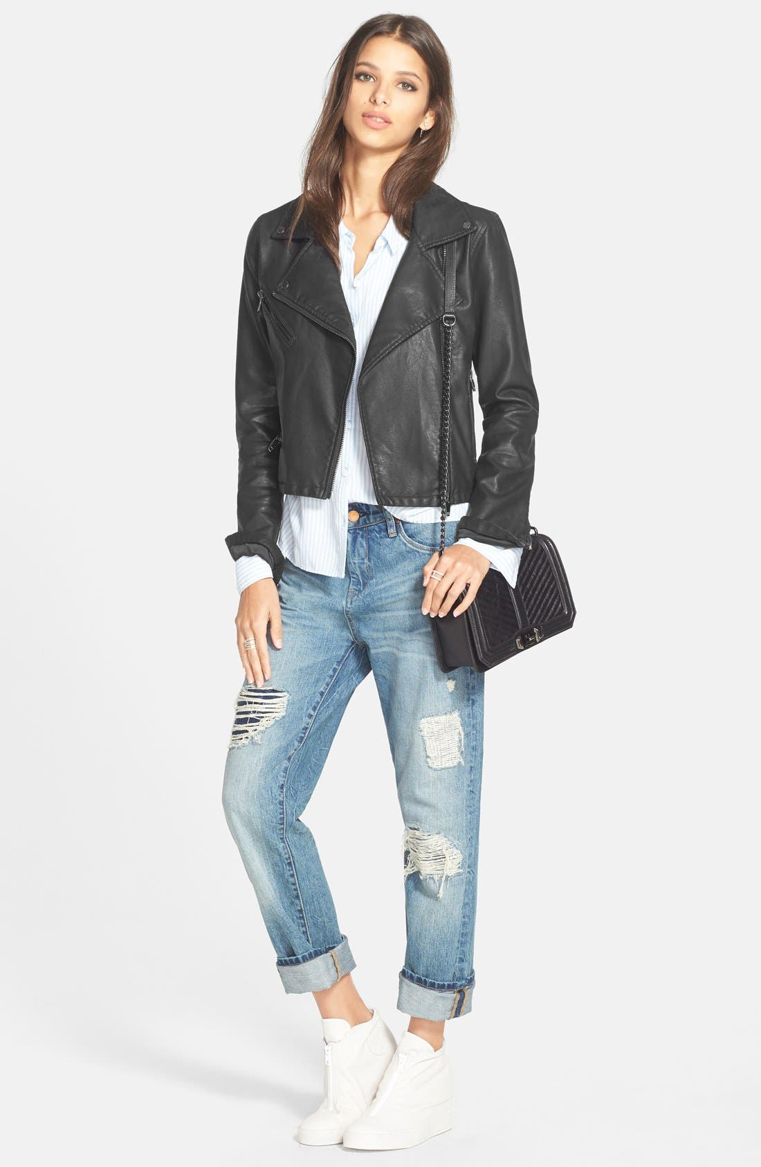 BLANKNYC, Faux Leather Moto Jacket, Alternate thumbnail 2, color, 001