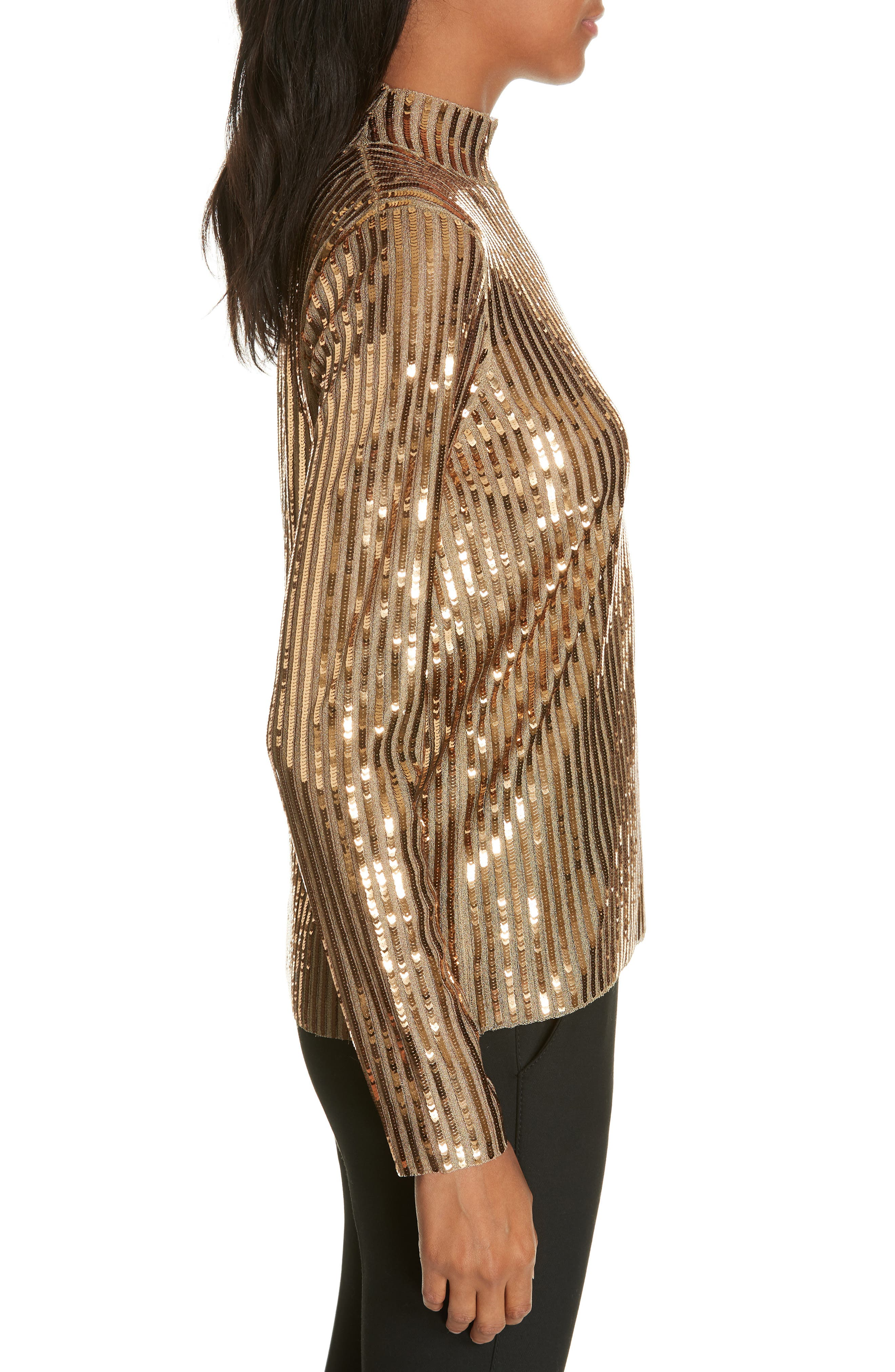 TANYA TAYLOR, Grace Gold Sequins Top, Alternate thumbnail 3, color, 712