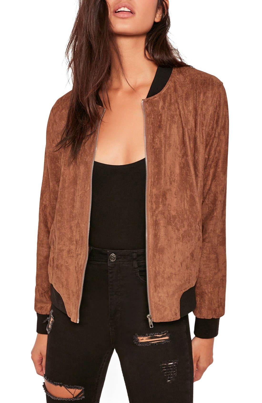 MISSGUIDED, Faux Suede Bomber Jacket, Main thumbnail 1, color, 808