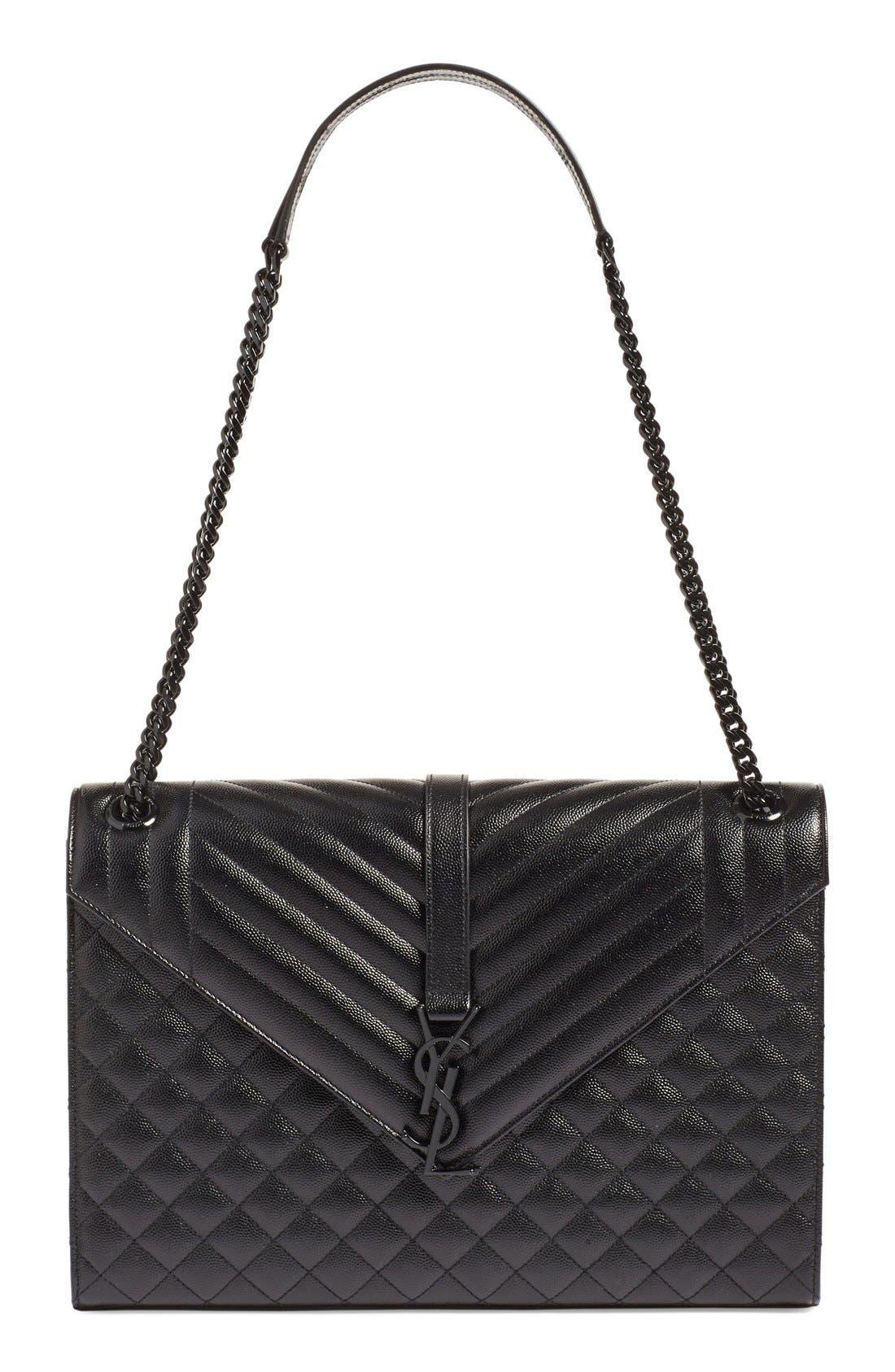 SAINT LAURENT, 'Medium Monogram' Chevron Quilted Leather Shoulder Bag, Main thumbnail 1, color, 001