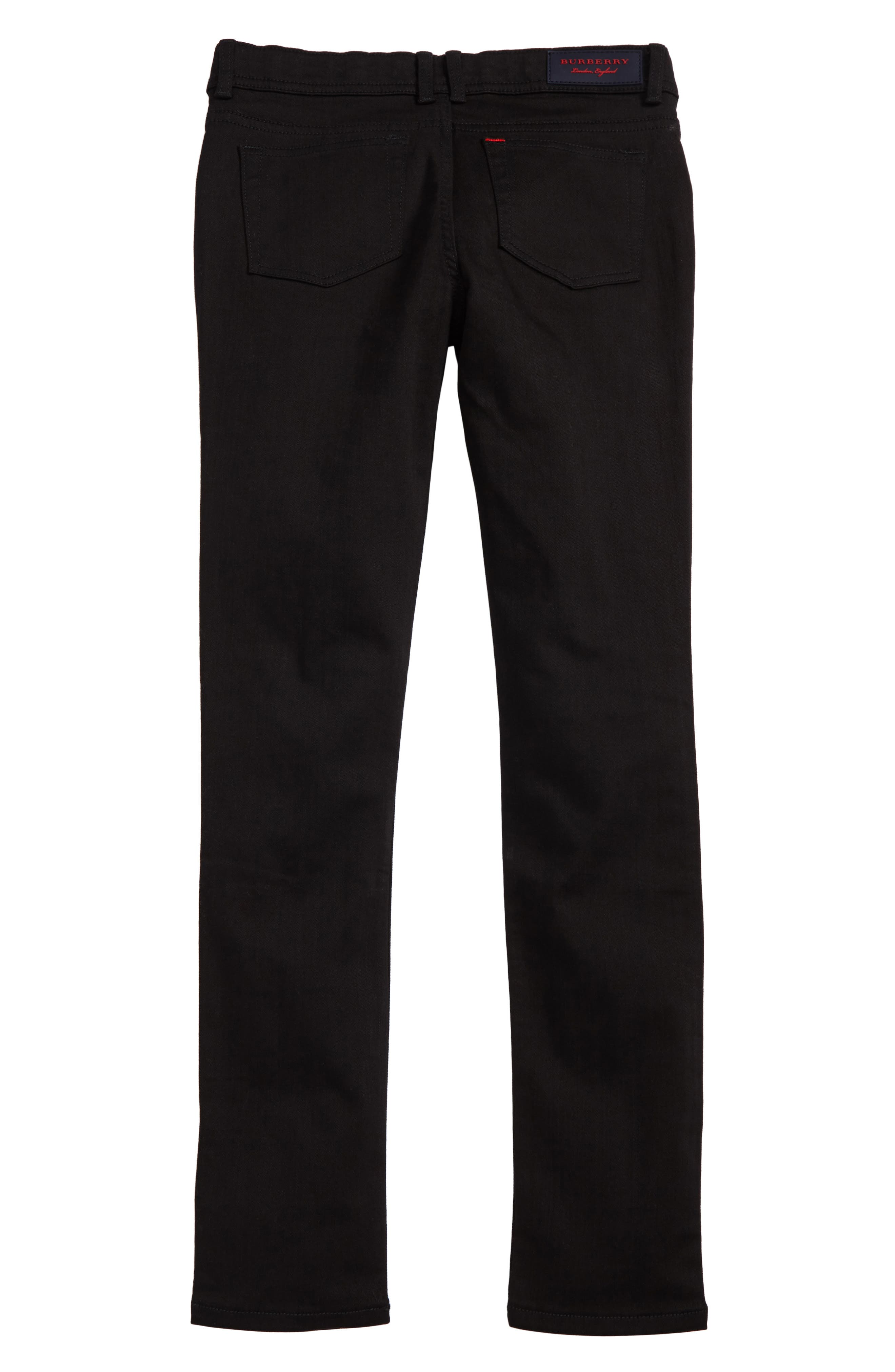 BURBERRY, Skinny Jeans, Alternate thumbnail 2, color, BLACK