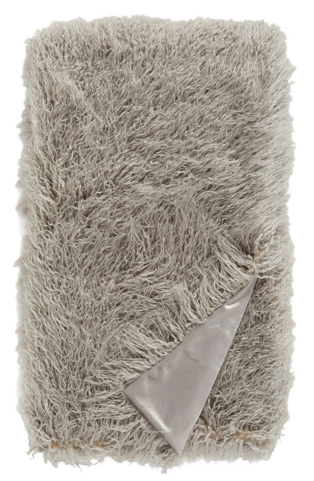 NORDSTROM AT HOME, Mongolian Faux Fur Throw, Main thumbnail 1, color, 020