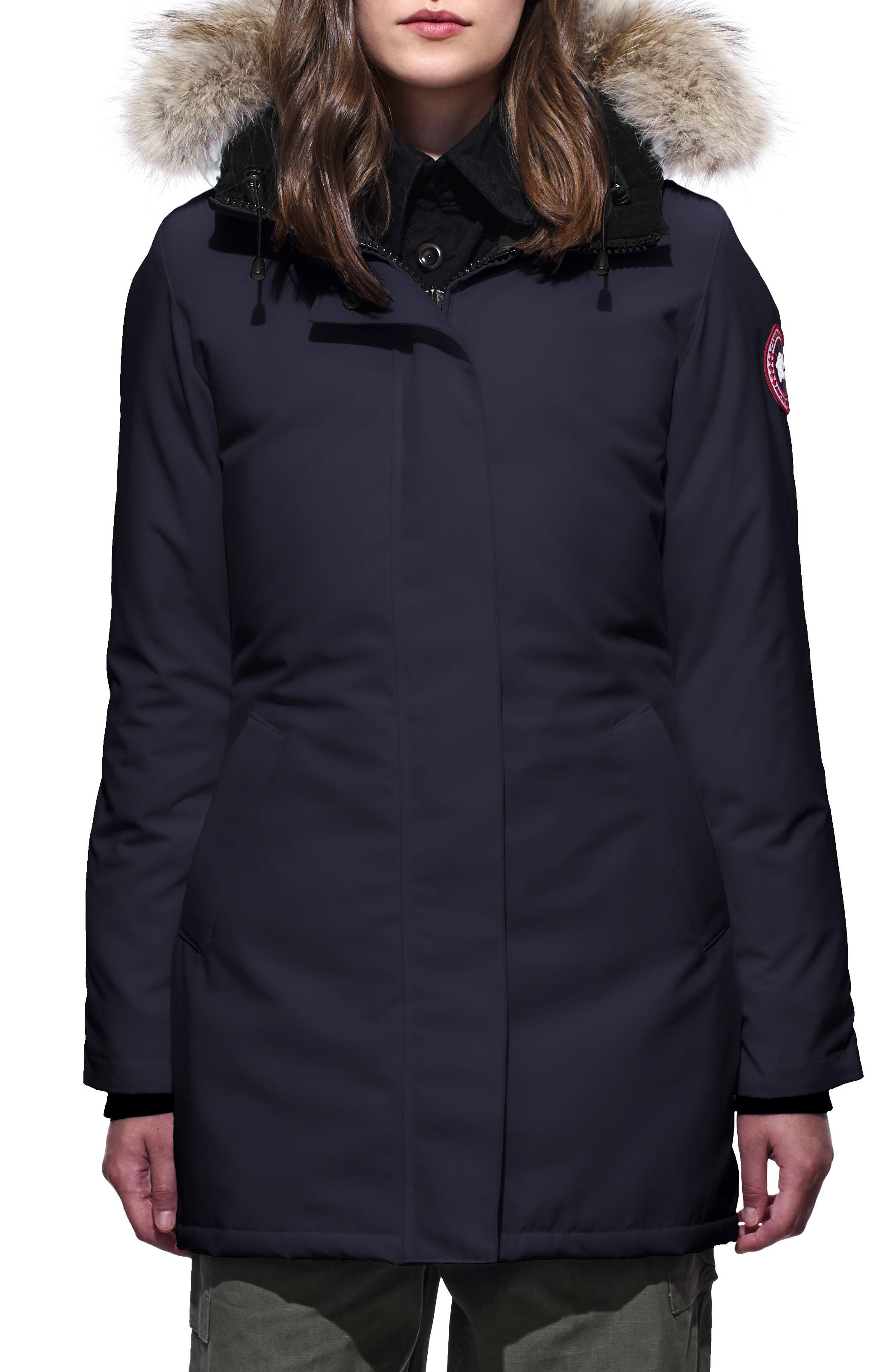 CANADA GOOSE, Victoria Down Parka with Genuine Coyote Fur Trim, Main thumbnail 1, color, ADMIRAL BLUE