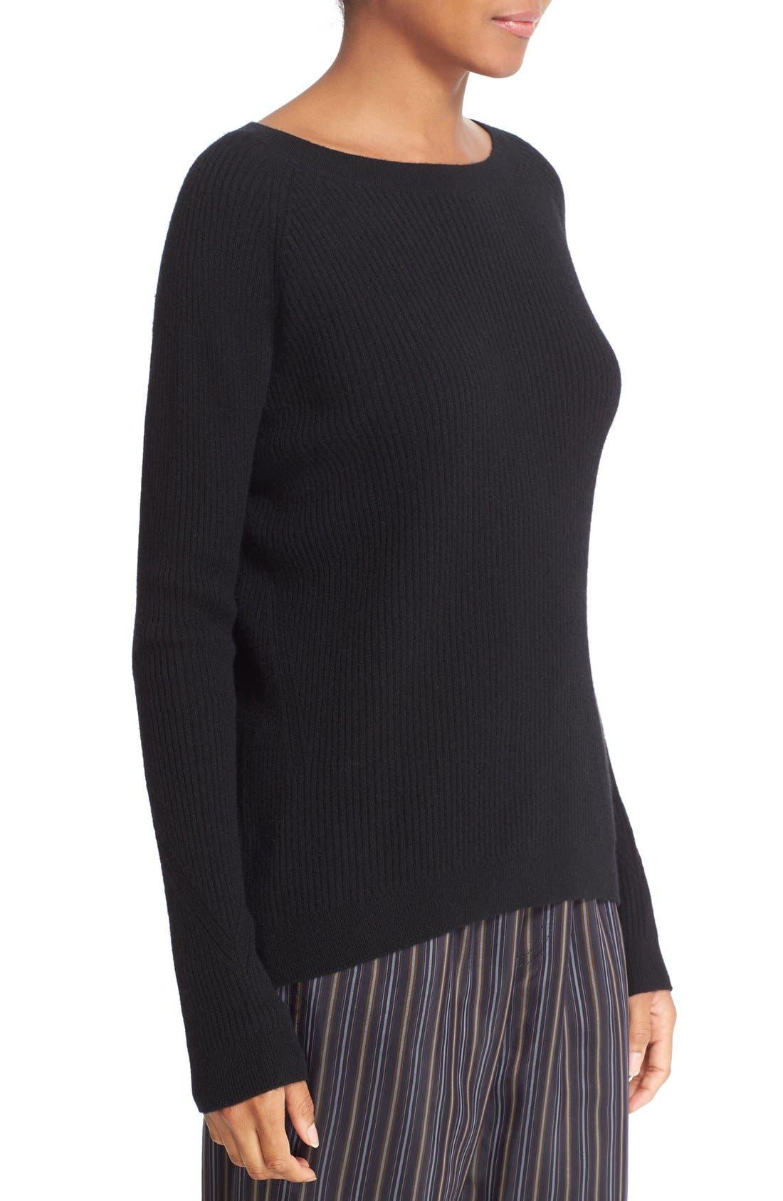 VINCE, Rib Knit Raglan Sleeve Cashmere Sweater, Alternate thumbnail 3, color, 001