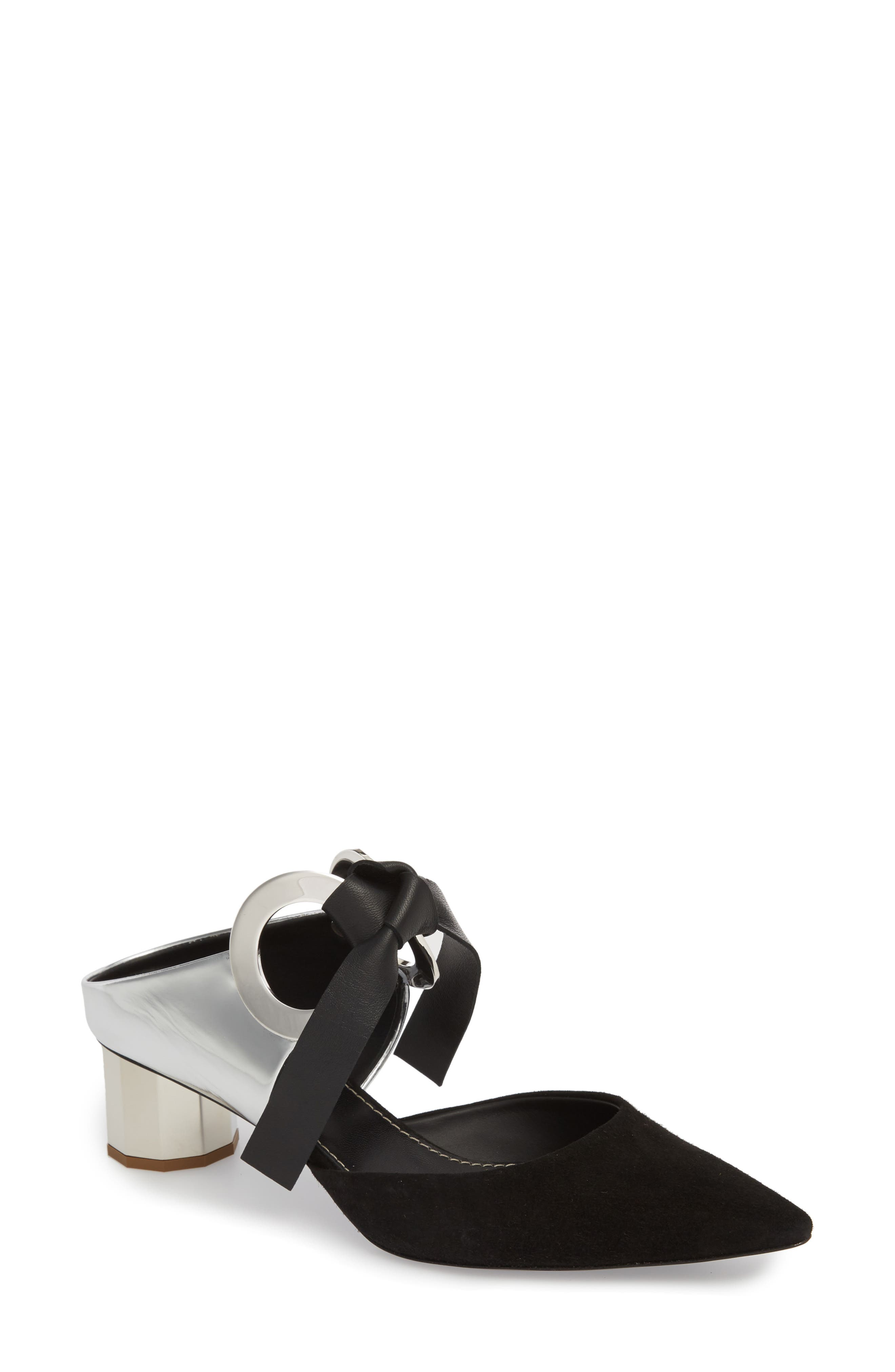 PROENZA SCHOULER Grommet Pointy Toe Mule, Main, color, SILVER/ BLACK