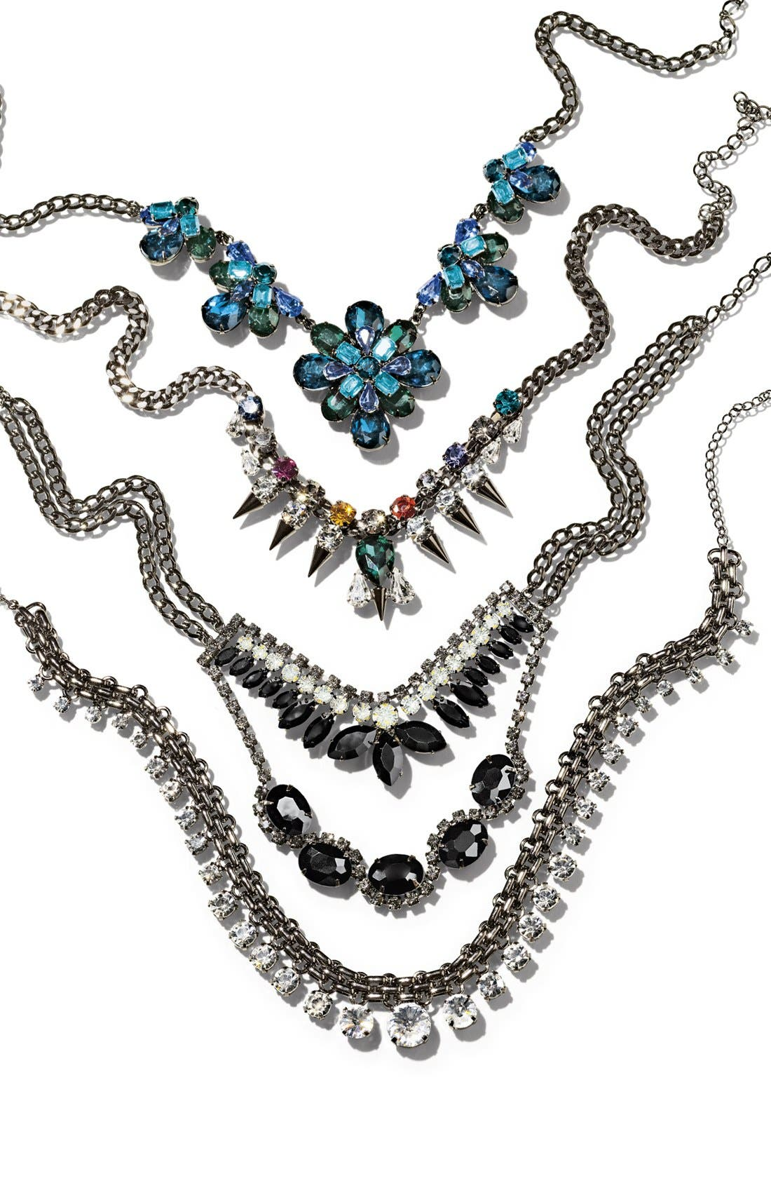 CARA, Multicolor Stone Spike Collar Necklace, Alternate thumbnail 3, color, 300
