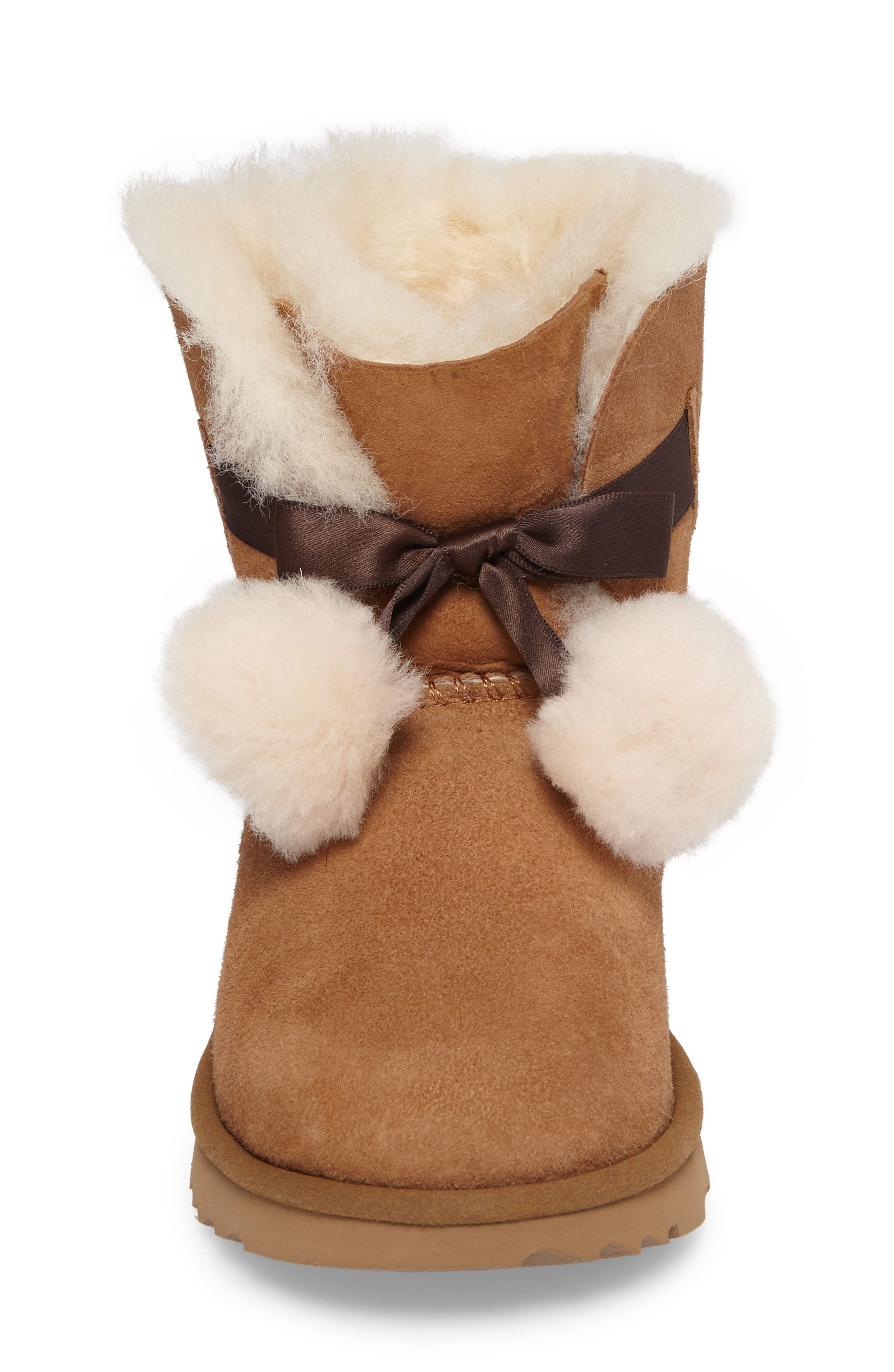 UGG<SUP>®</SUP>, Gita Water-Resistant Genuine Shearling Pom Boot, Alternate thumbnail 4, color, CHESTNUT