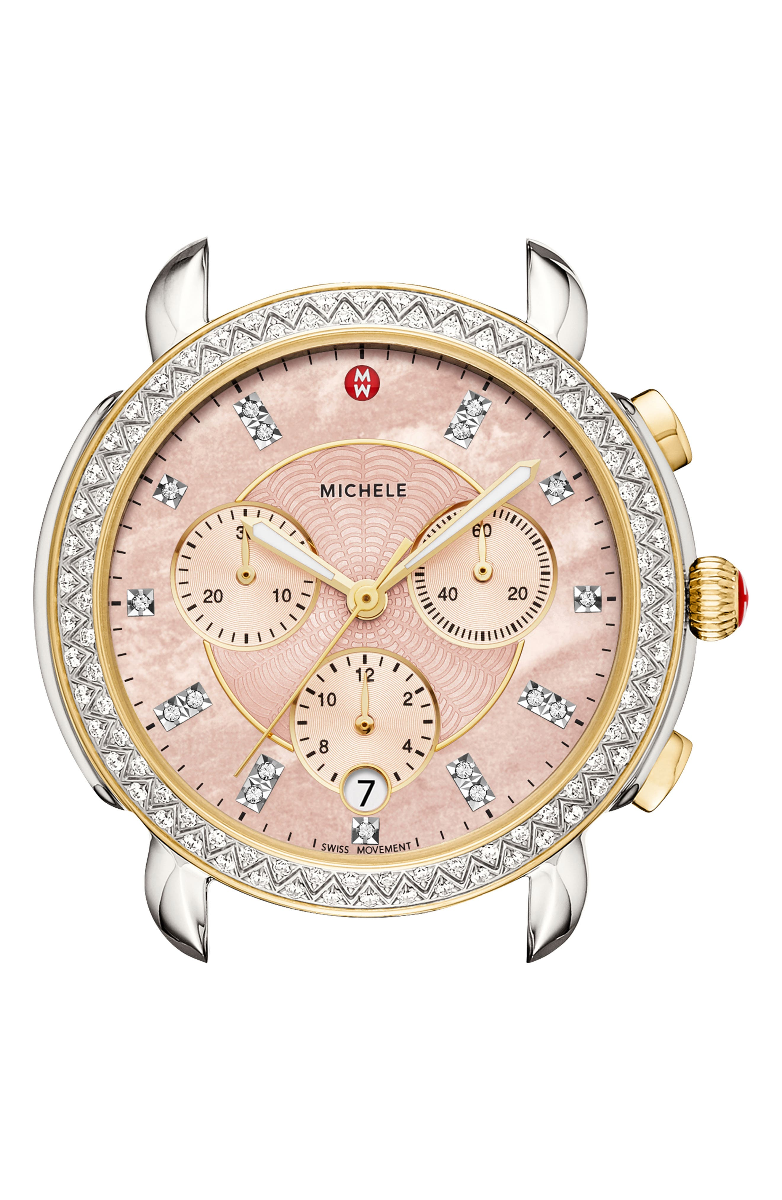 MICHELE, Sidney Chrono Diamond Diamond Dial Watch Case, 38mm, Main thumbnail 1, color, GOLD/ SILVER/ DESERT ROSE MOP