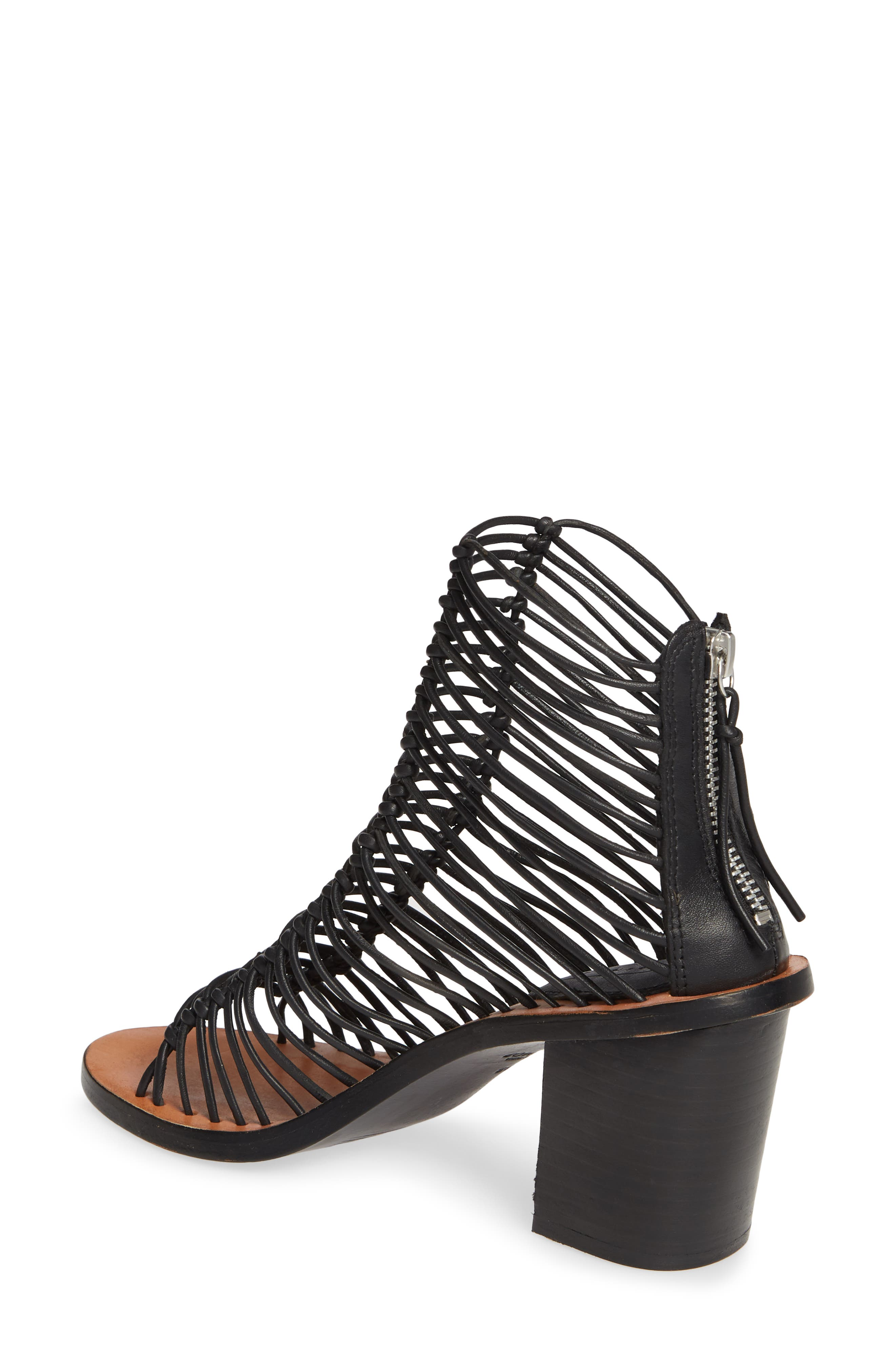 TOPSHOP, Narly Knotted Bootie Sandal, Alternate thumbnail 2, color, BLACK