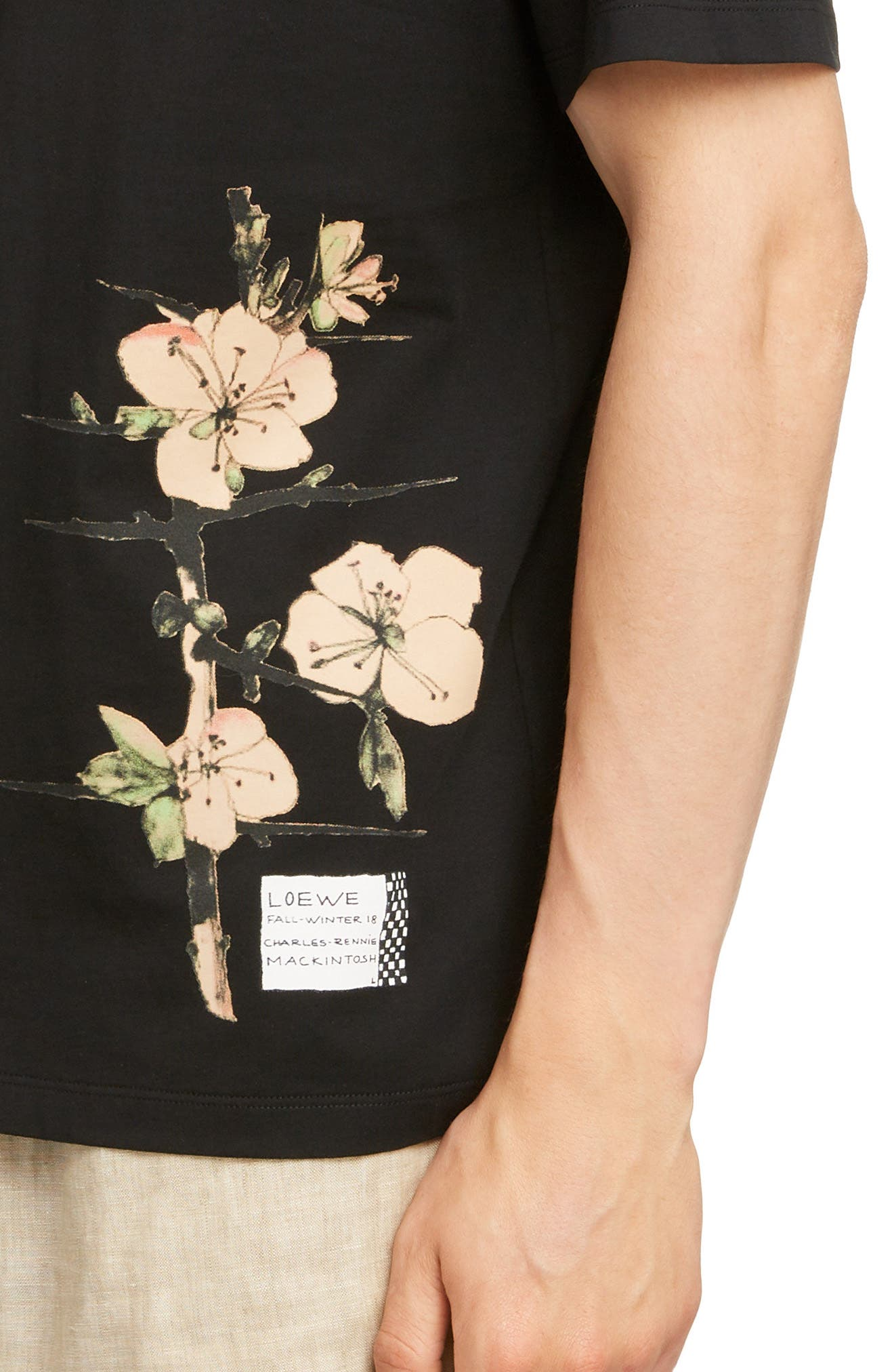 LOEWE, Charles Rennie Mackintosh Collection Botanical Print T-Shirt, Alternate thumbnail 4, color, 1100-BLACK