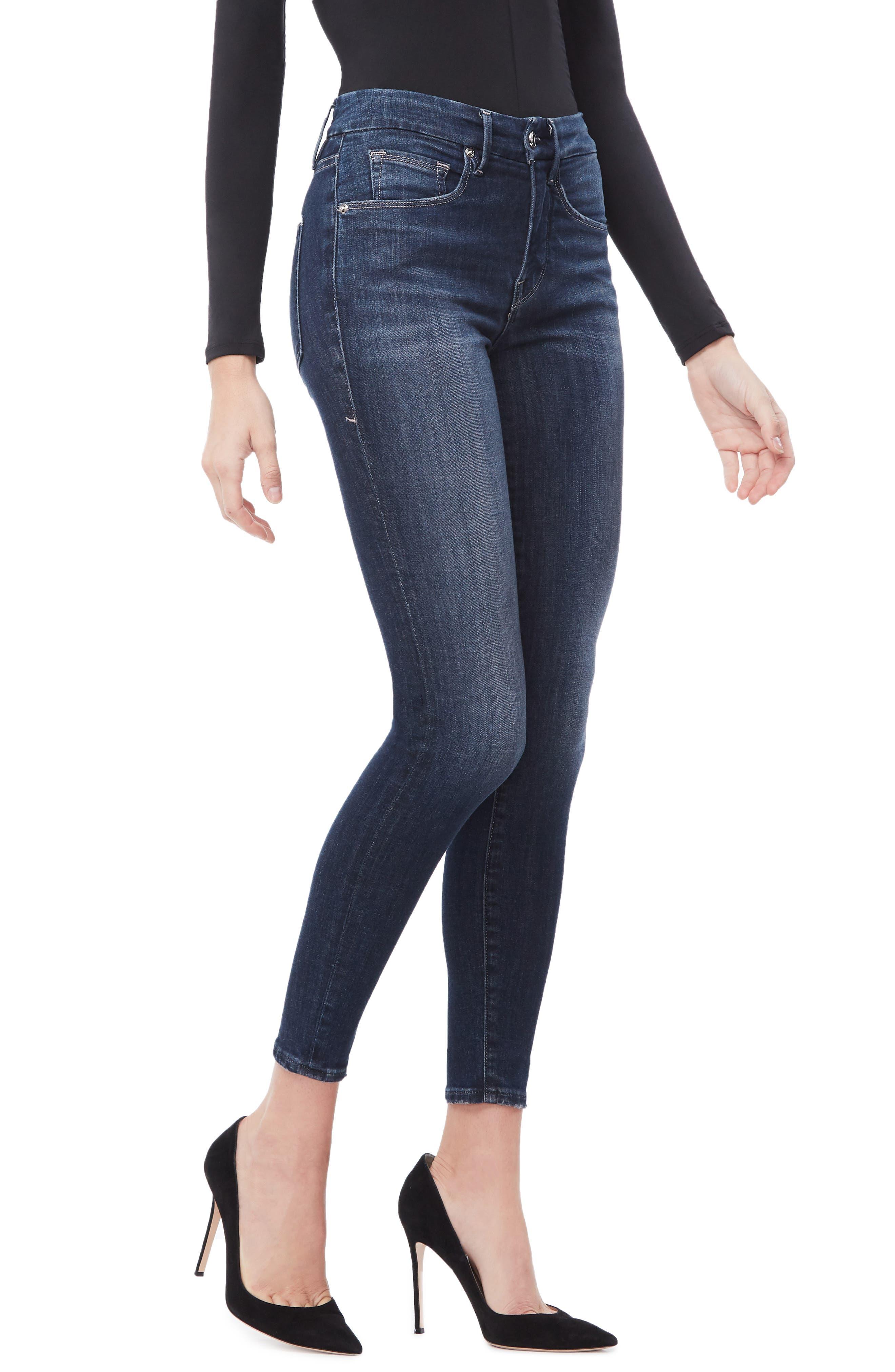 GOOD AMERICAN, Good Legs Ankle Skinny Jeans, Alternate thumbnail 5, color, BLUE260