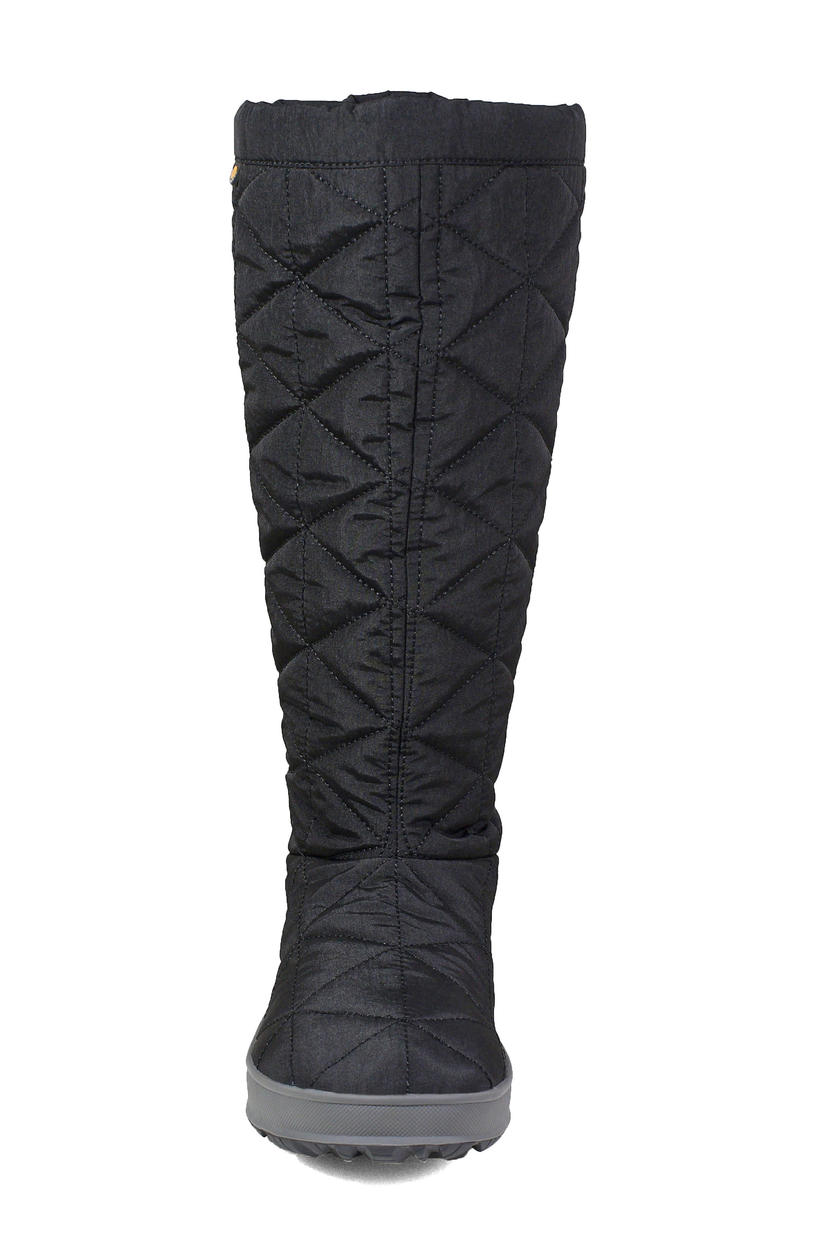 BOGS, Snowday Tall Waterproof Quilted Snow Boot, Alternate thumbnail 4, color, BLACK