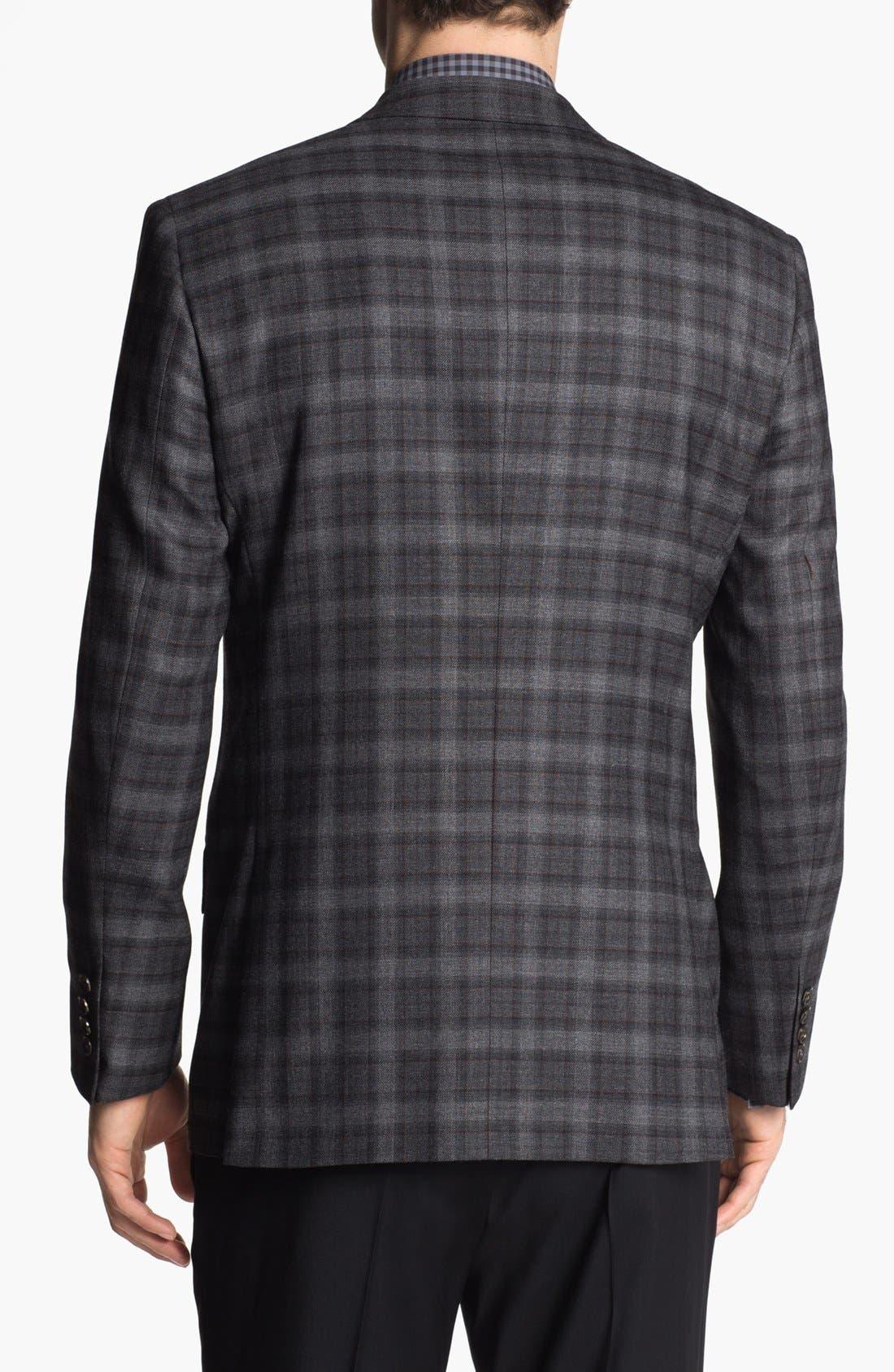 TED BAKER LONDON, 'Jones' Trim Fit Plaid Sportcoat, Alternate thumbnail 3, color, 020