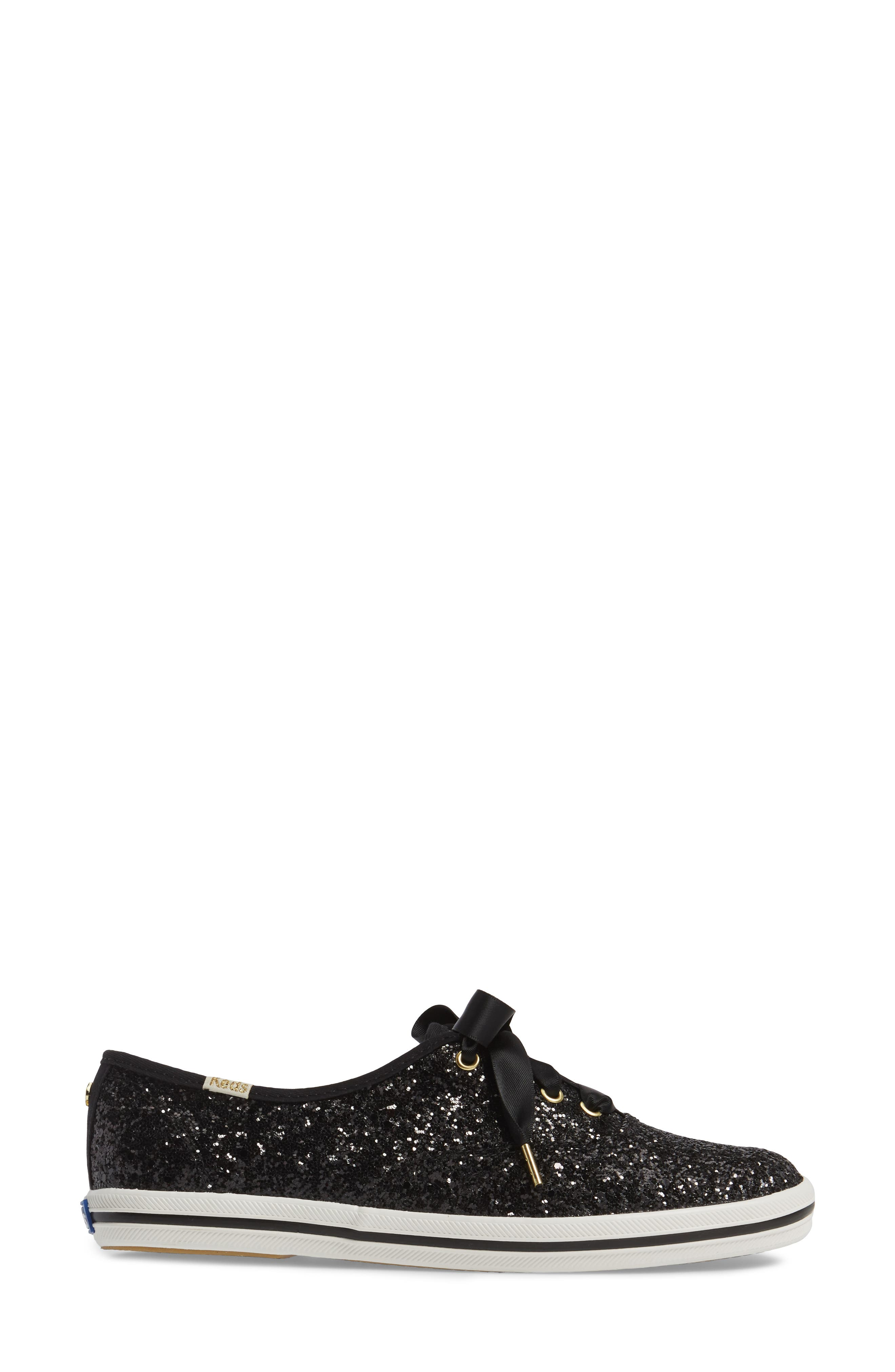 KEDS<SUP>®</SUP> FOR KATE SPADE NEW YORK, glitter sneaker, Alternate thumbnail 3, color, BLACK