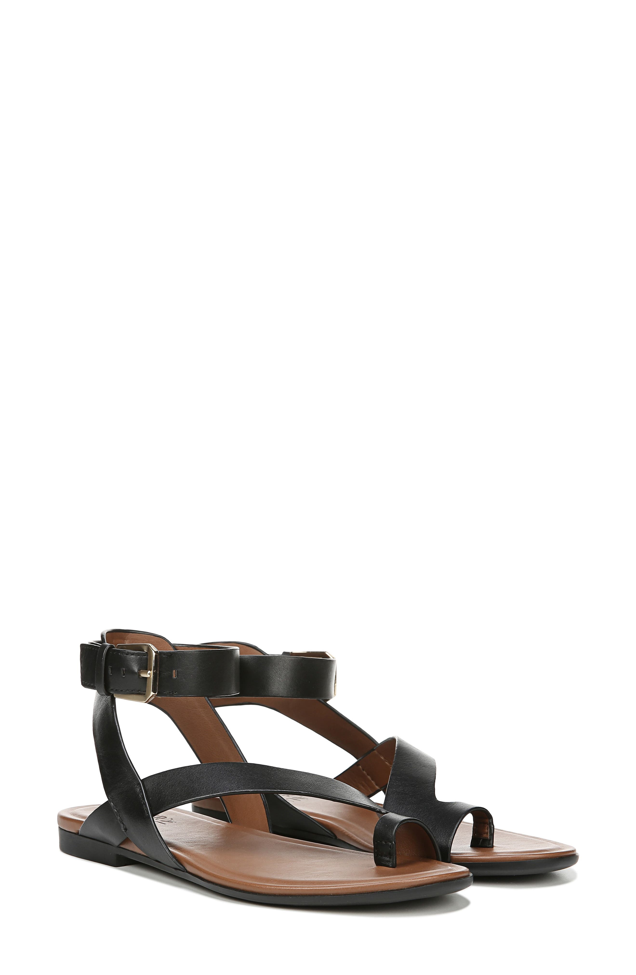 NATURALIZER, Tally Ankle Strap Sandal, Alternate thumbnail 8, color, BLACK LEATHER