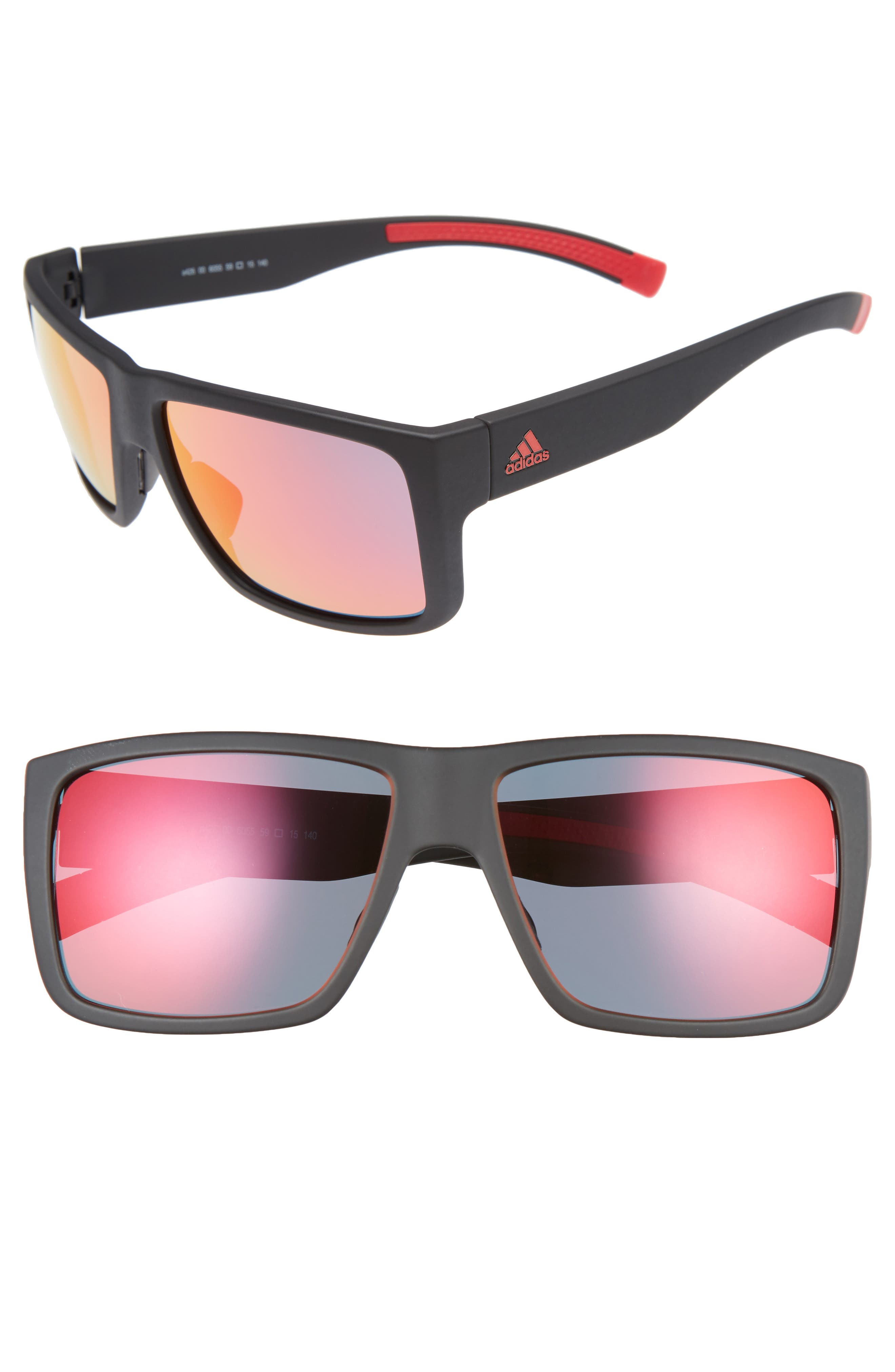 ADIDAS, Matic 59mm Sunglasses, Alternate thumbnail 3, color, BLACK MATTE/ RED MIRROR