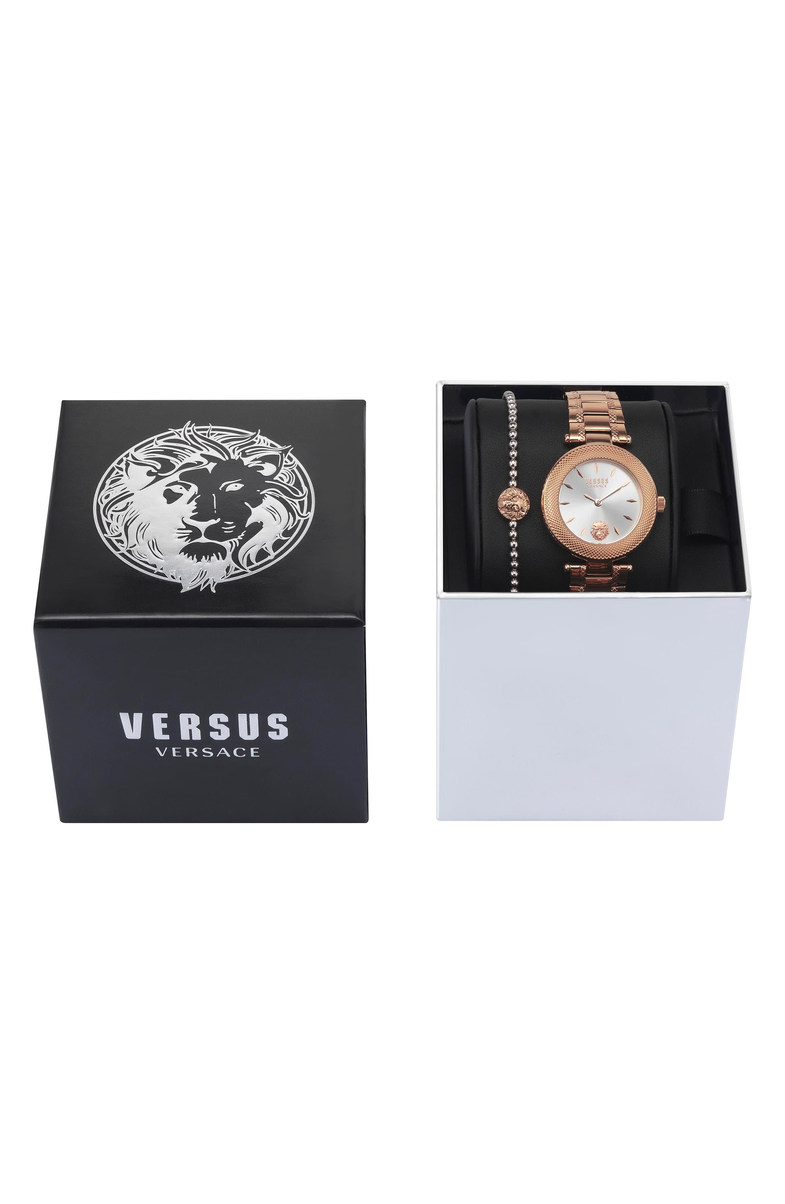 VERSUS VERSACE, Bricklane Watch Set, 36mm, Alternate thumbnail 3, color, ROSE GOLD/ SILVER