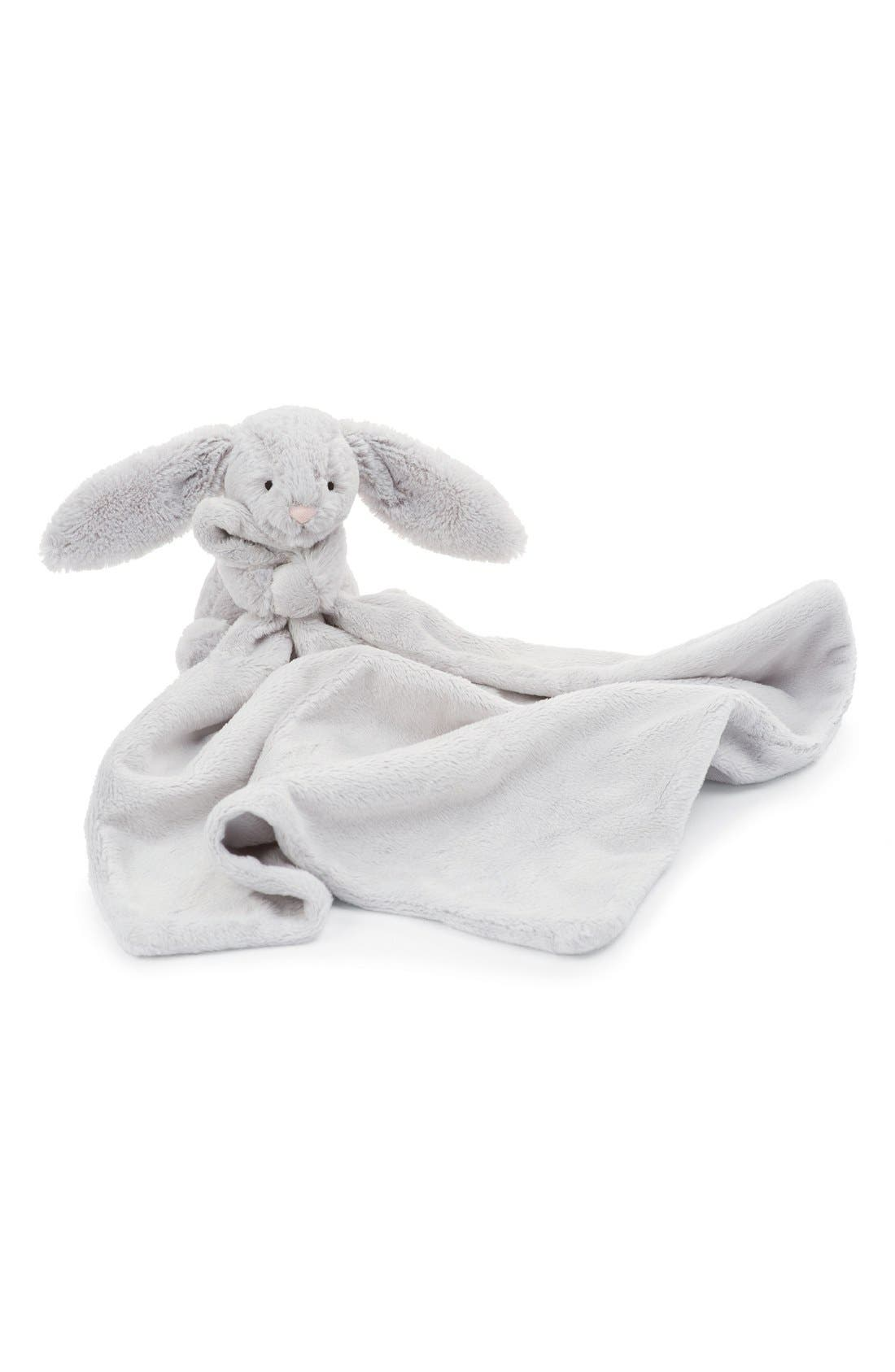 JELLYCAT, 'Grey Bunny Soother' Blanket, Main thumbnail 1, color, GREY