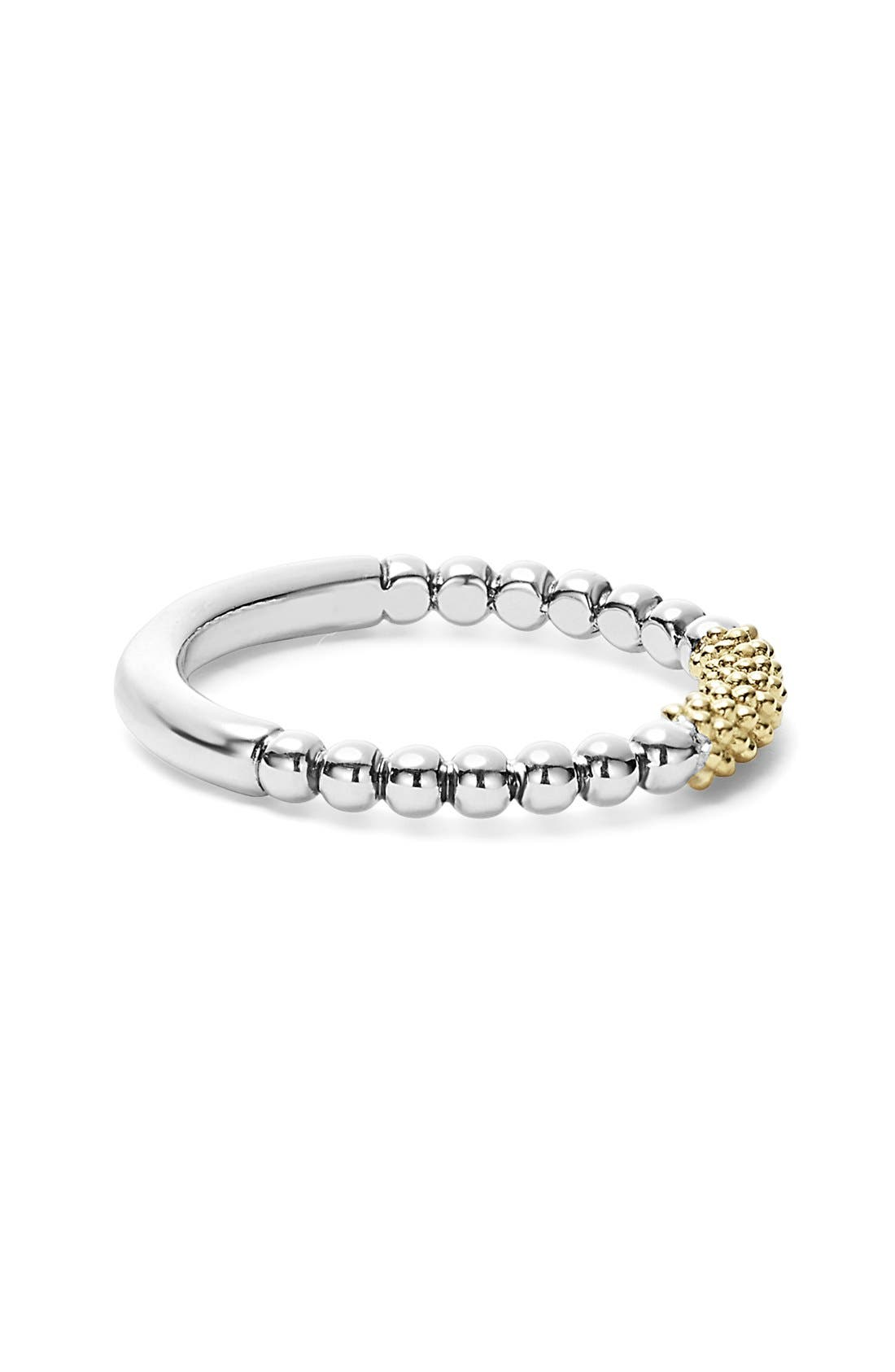LAGOS, 'Caviar Icon' Stacking Ring, Alternate thumbnail 6, color, SILVER/ GOLD