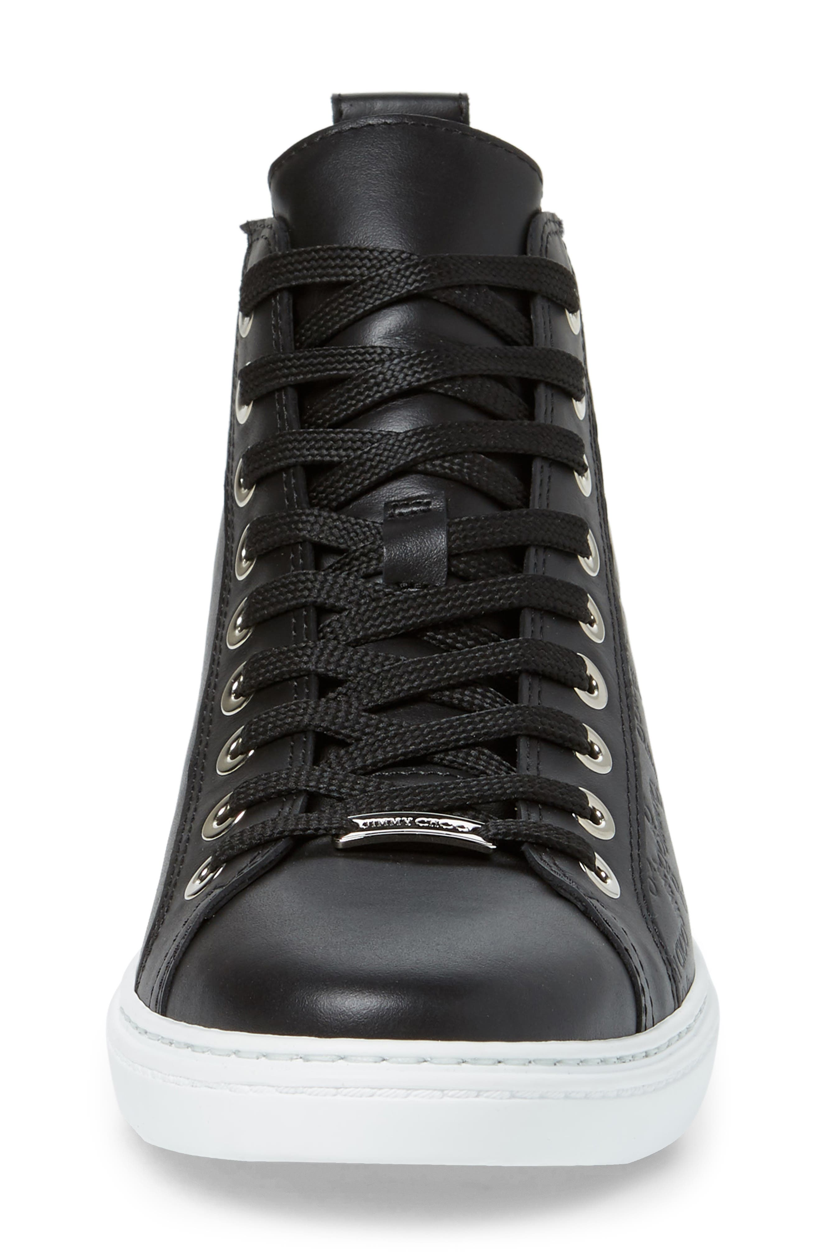 JIMMY CHOO, Colt High Top Sneaker, Alternate thumbnail 4, color, BLACK