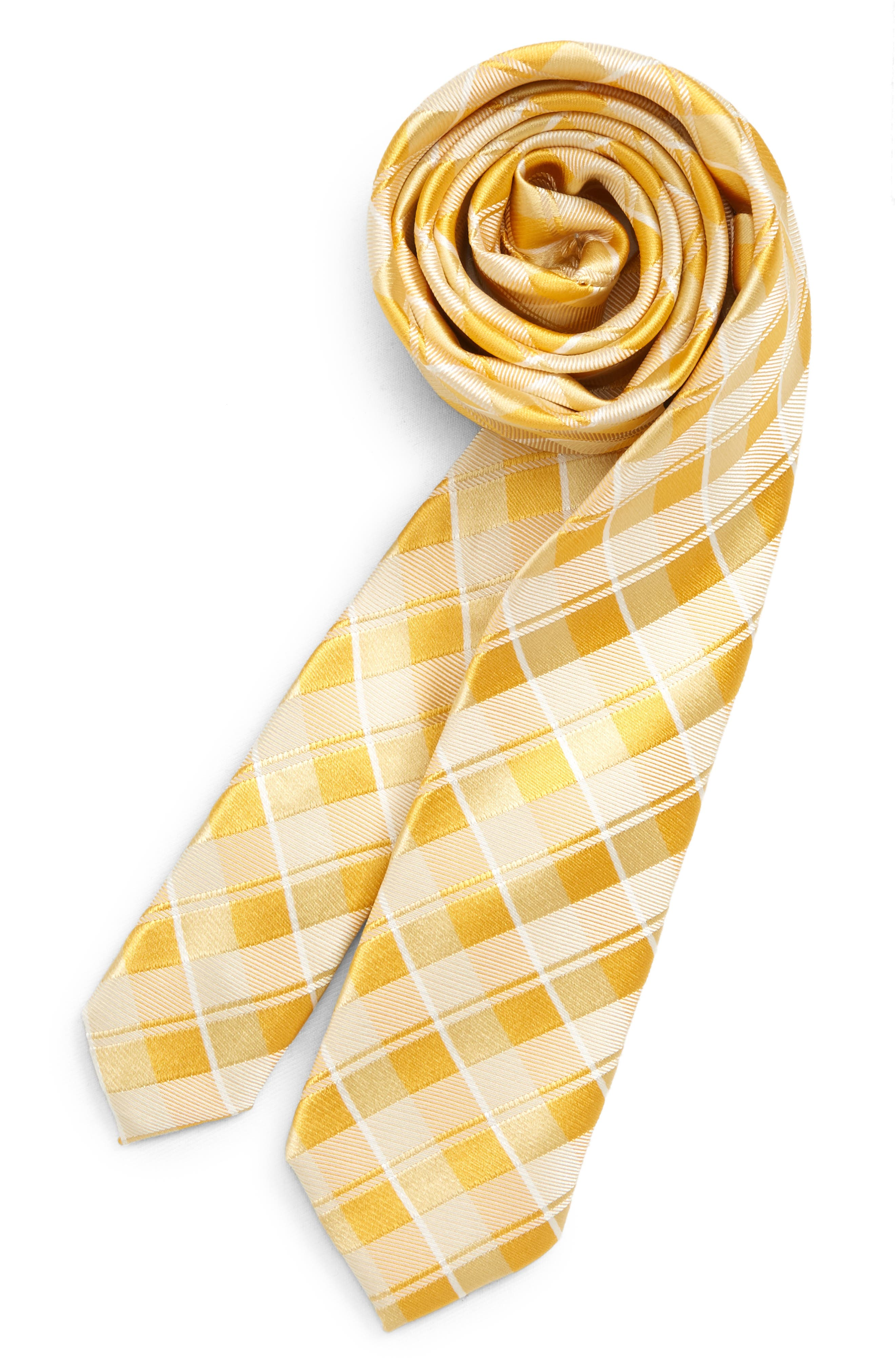 NORDSTROM, Murphy Plaid Silk Tie, Main thumbnail 1, color, YELLOW
