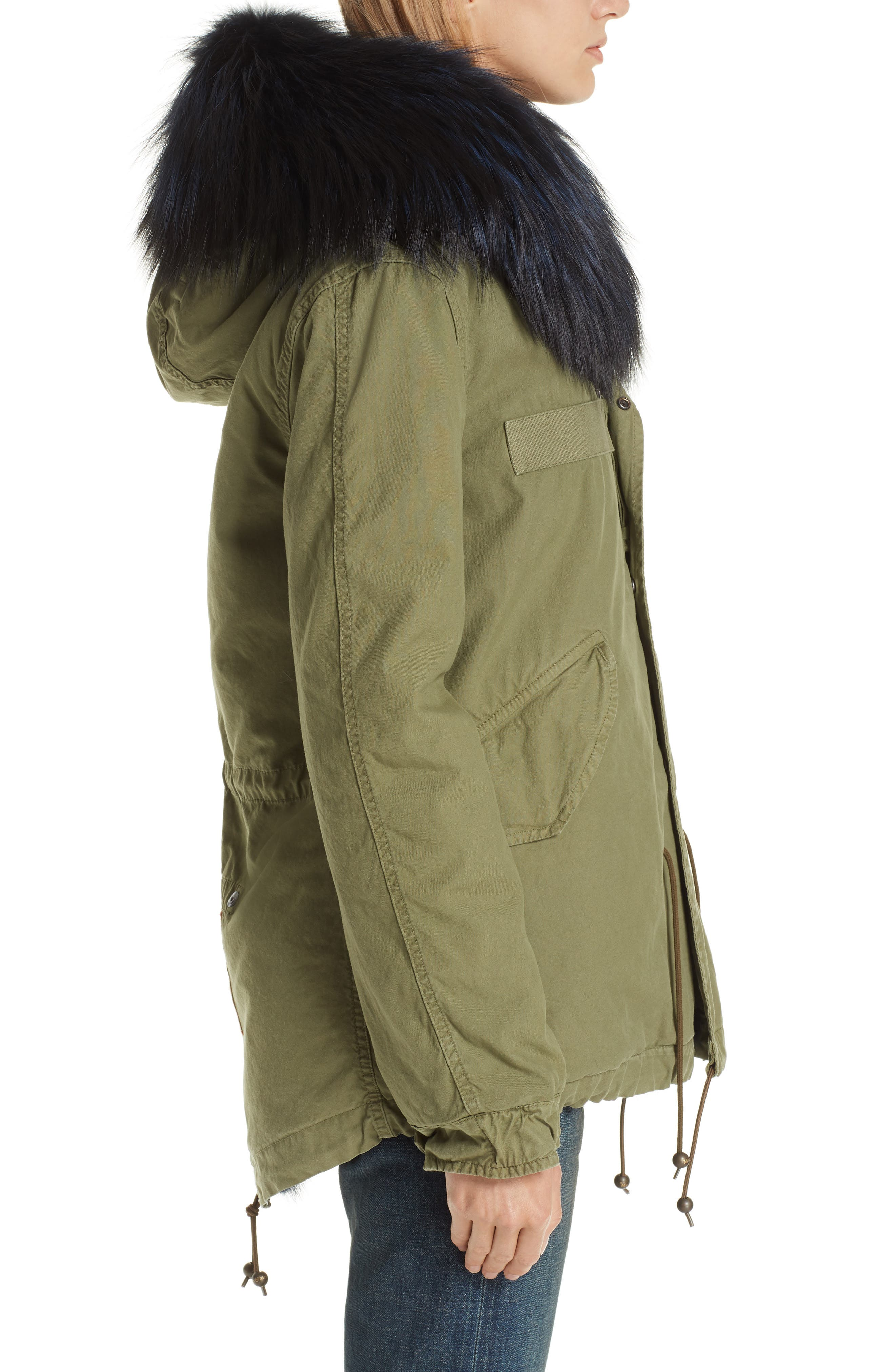 MR & MRS ITALY, Genuine Fox Fur Trim and Coyote Fur Lining Parka, Alternate thumbnail 4, color, BLUE FRANCE